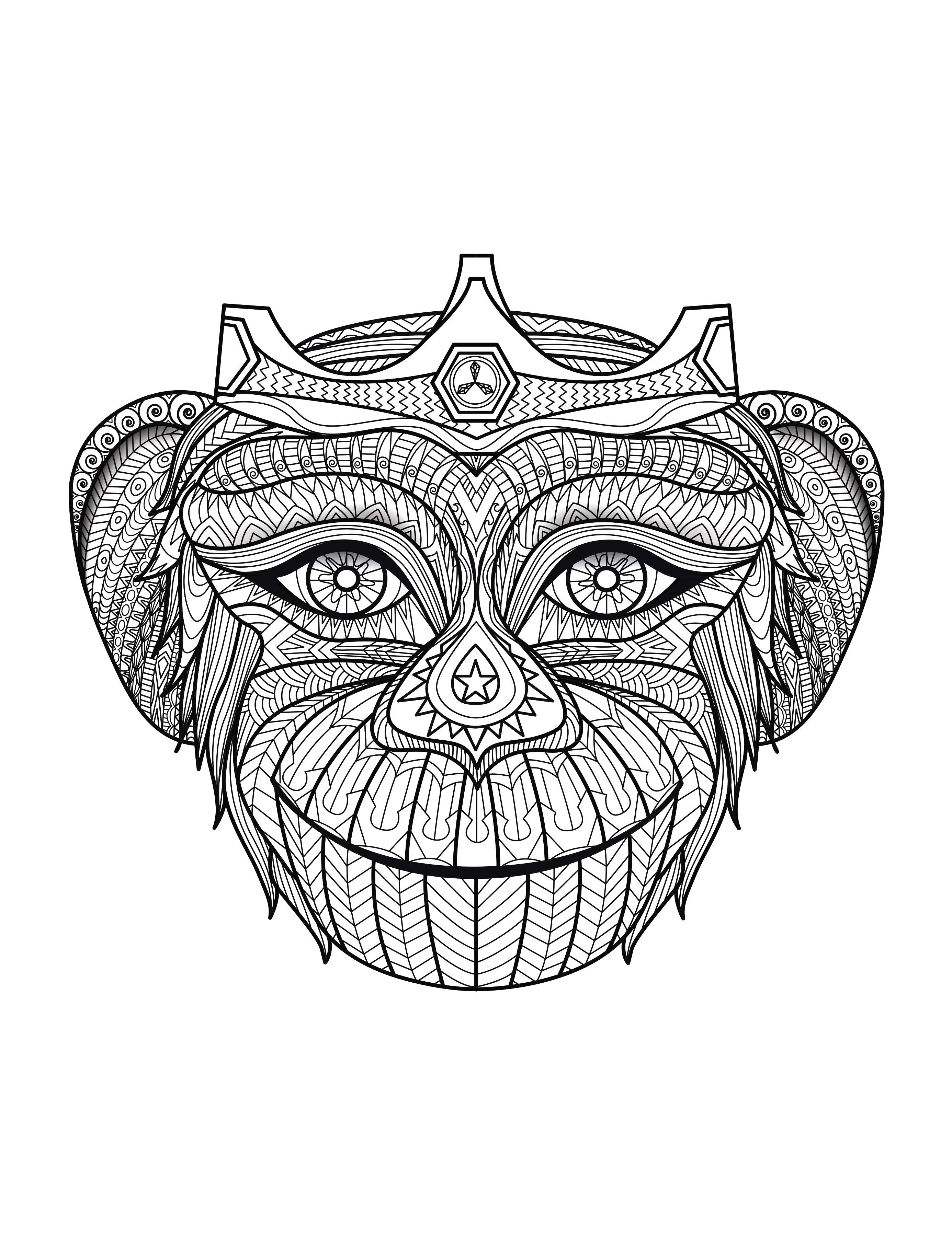 coloriage adulte tete de singe free to print