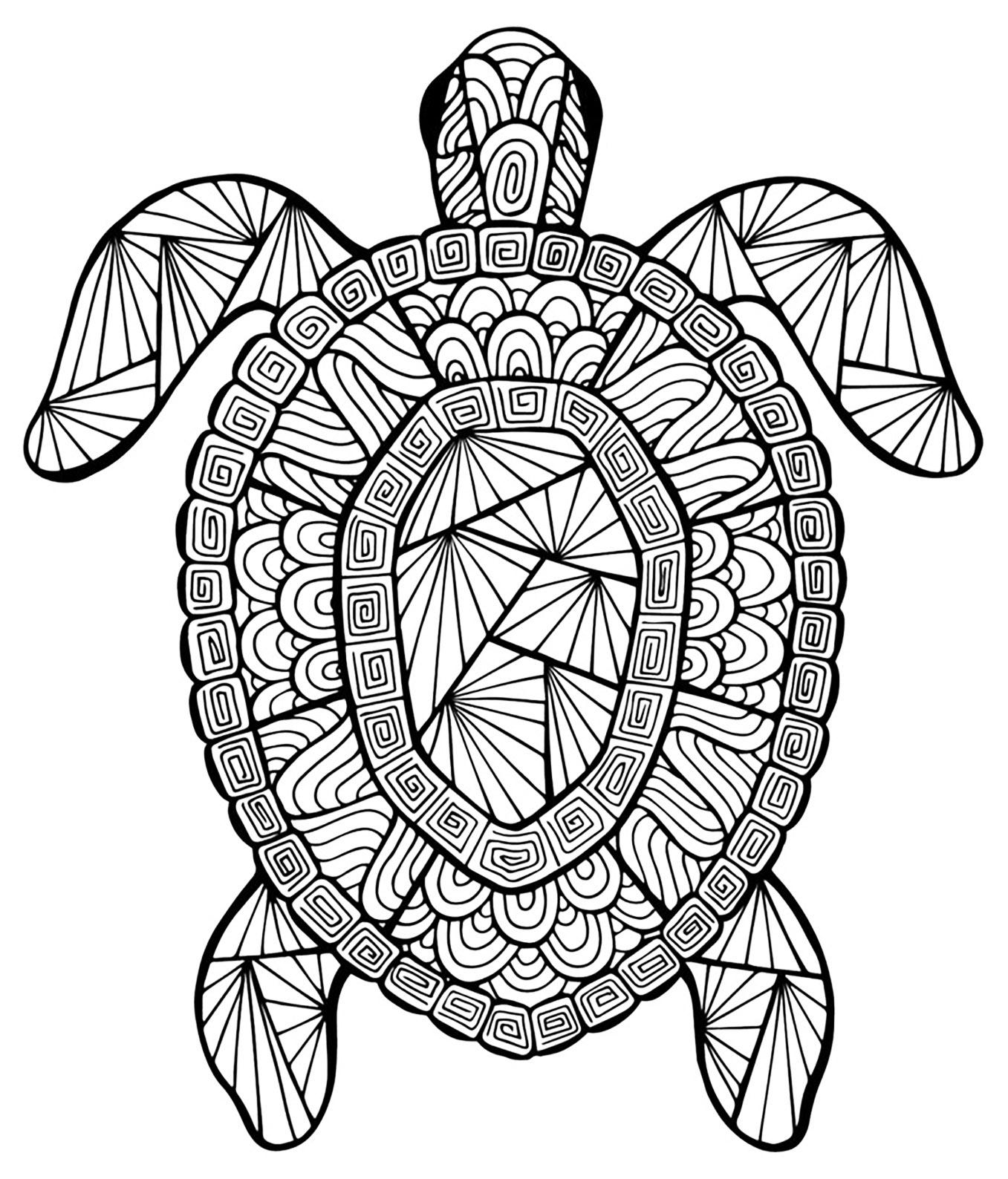 Avec tortue | Animaux - Coloriages difficiles pour adultes ...