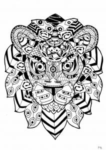 coloriage-adulte-lion-zentangle-par-pauline free to print