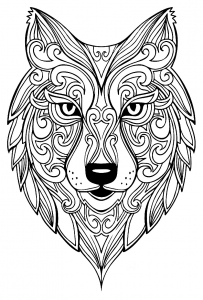 coloriage-adulte-loup-2 free to print