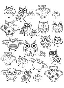 coloriage-doodle-hibou-1 free to print