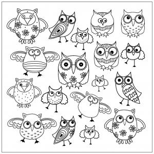 coloriage-doodle-hibou-2 free to print