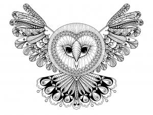 coloriage-hibou-avec-grande-tete-forme-mandala free to print