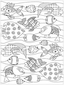 coloriage-joyeux-poissons free to print