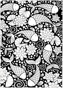 coloriage-poissons-sur-un-fond-noir free to print