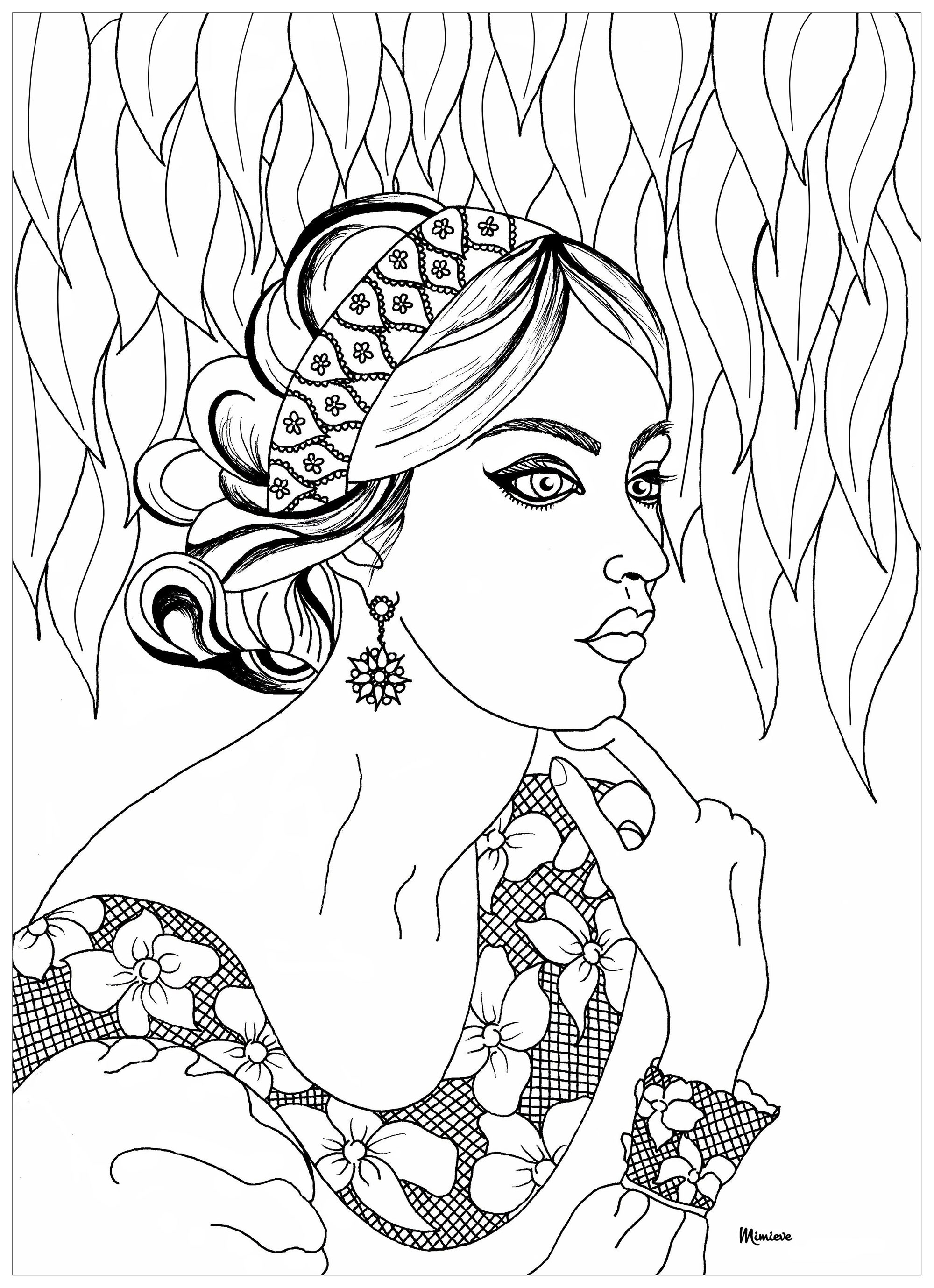 Femme dentelle anti stress art th rapie coloriages - Coloriage art therapie a imprimer ...