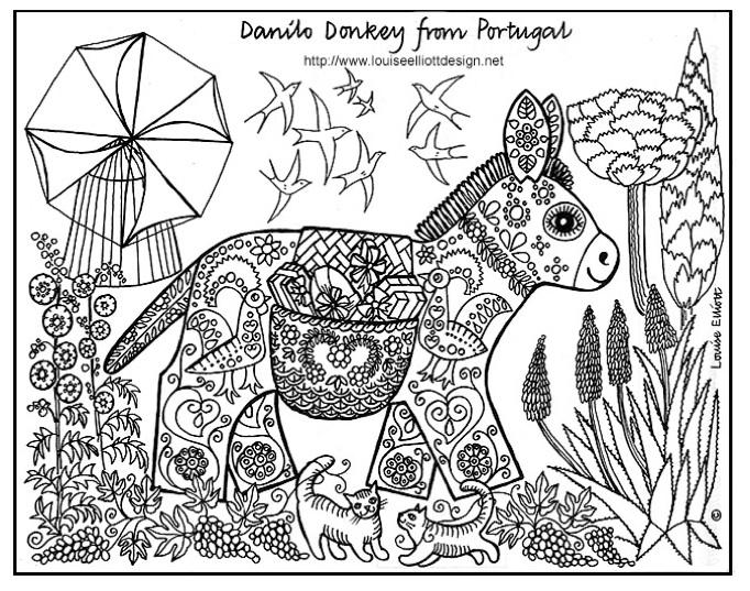 Dessin d'un âne rempli de motifs, avec faune et flore à foison autour de lui, pour un coloriage adulte respirant l'enfance
