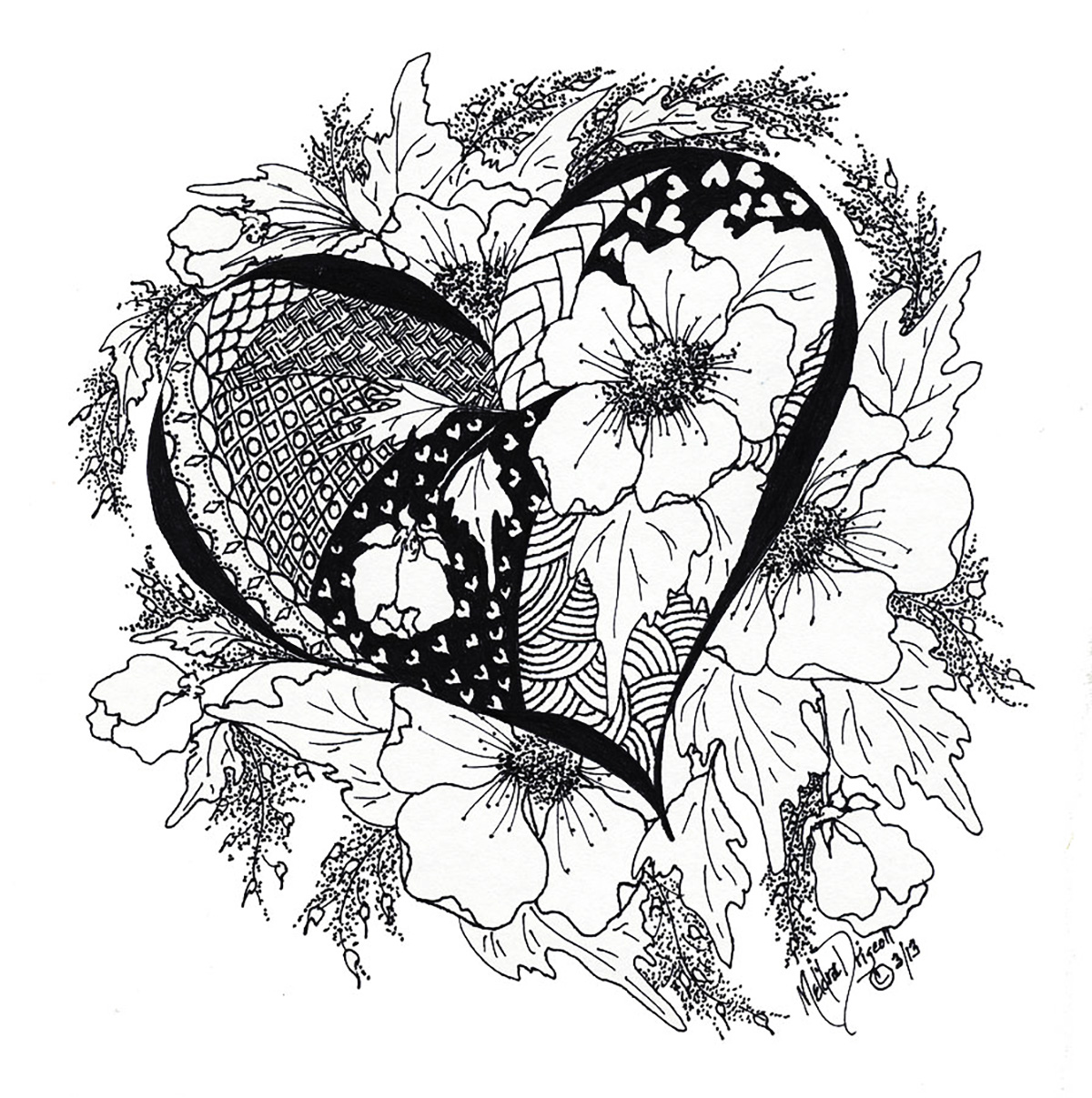coloriage adulte coeur amour 5 free to print