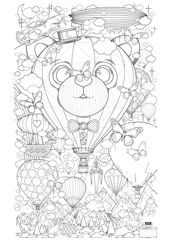 Montgolfiere zen anti stress a imprimer anti stress - Coloriage art ...