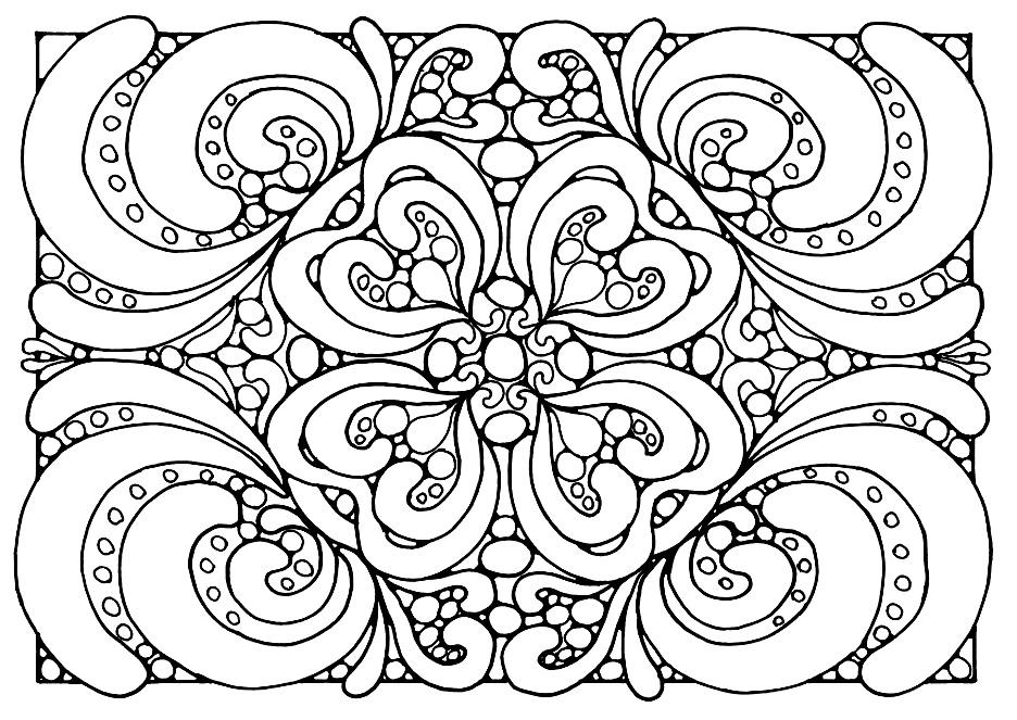 Un Coloriage Zen avec motifs végétaux et symétriques
