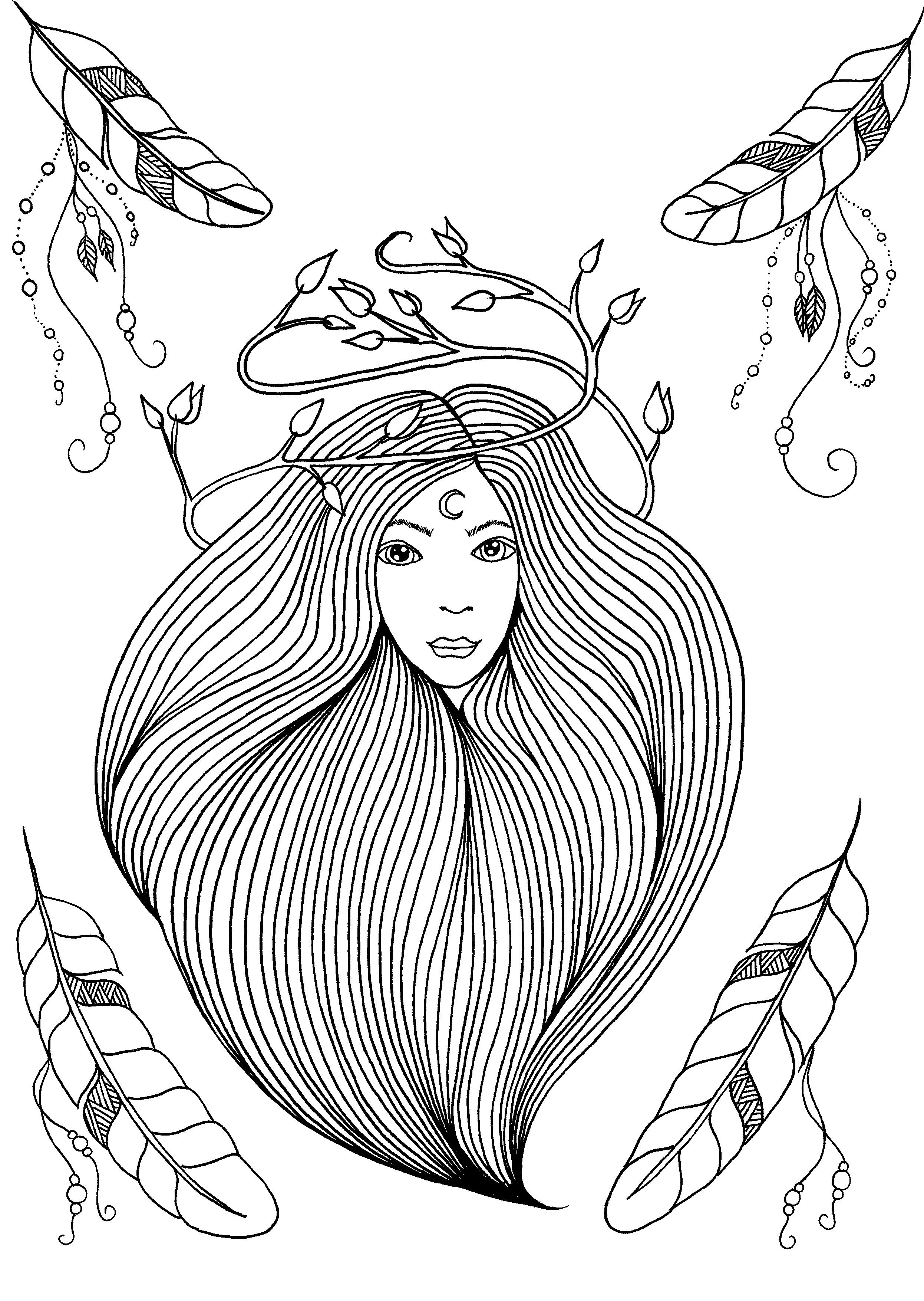 Coloriage de la couverture du livre 'Plumes et Rêves' de Leen Margot | A partir de la galerie : Anti Stress | Artiste : Leen Margot