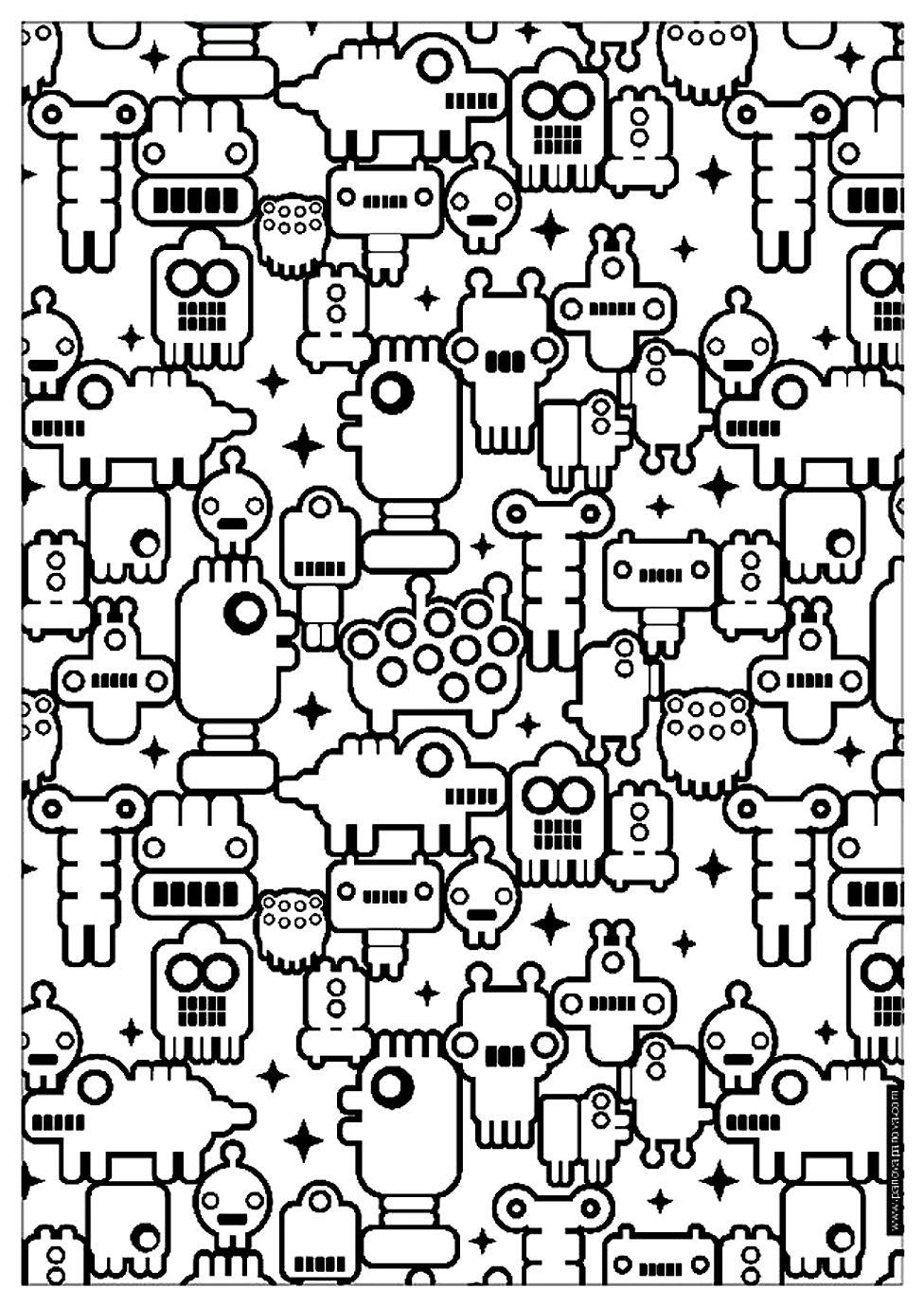 Zen Anti Stress A Imprimer Petits Robots Anti Stress Art