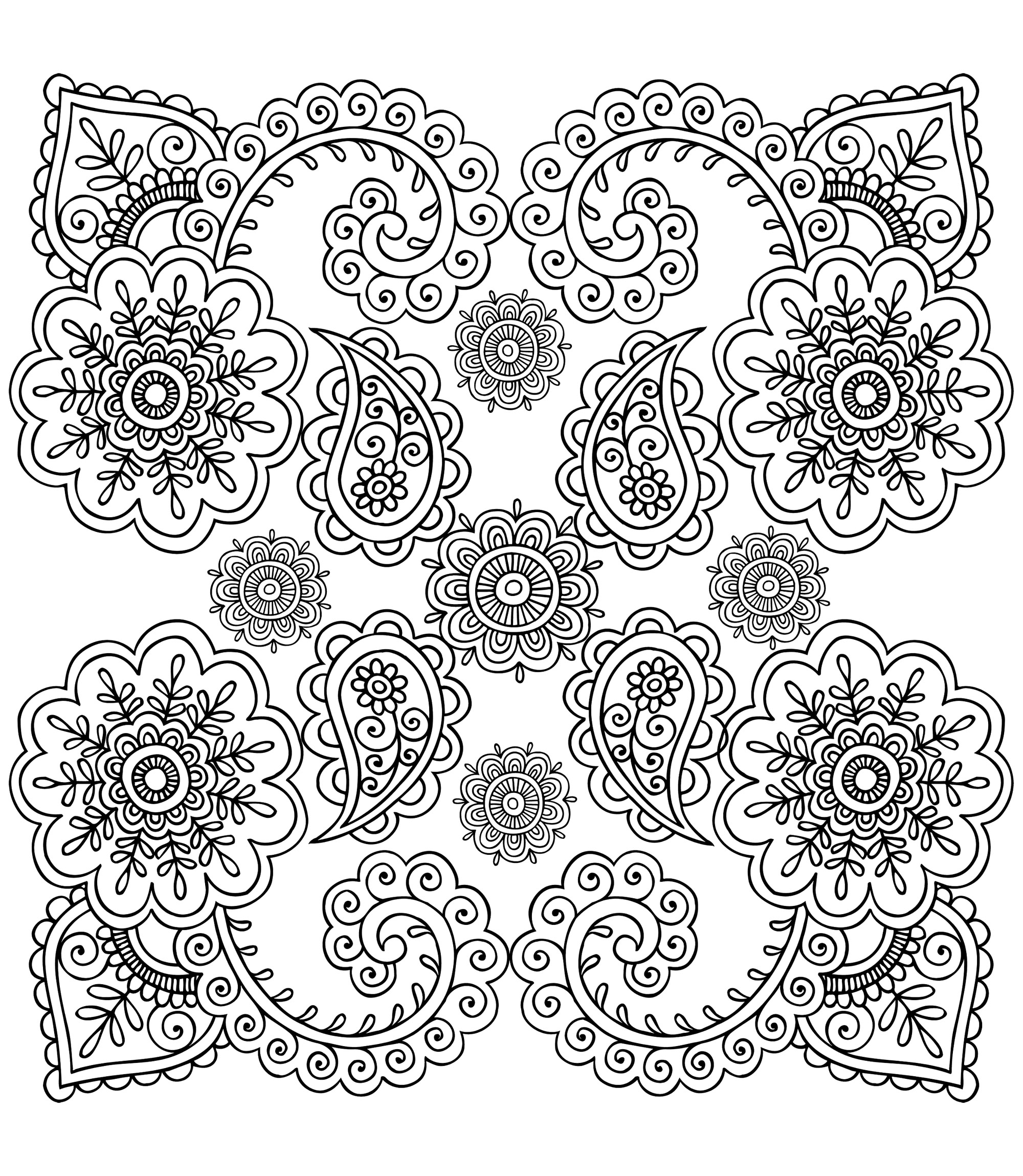 Anti stress fleurs anti stress art th rapie coloriages difficiles pour adultes - Coloriage therapie ...