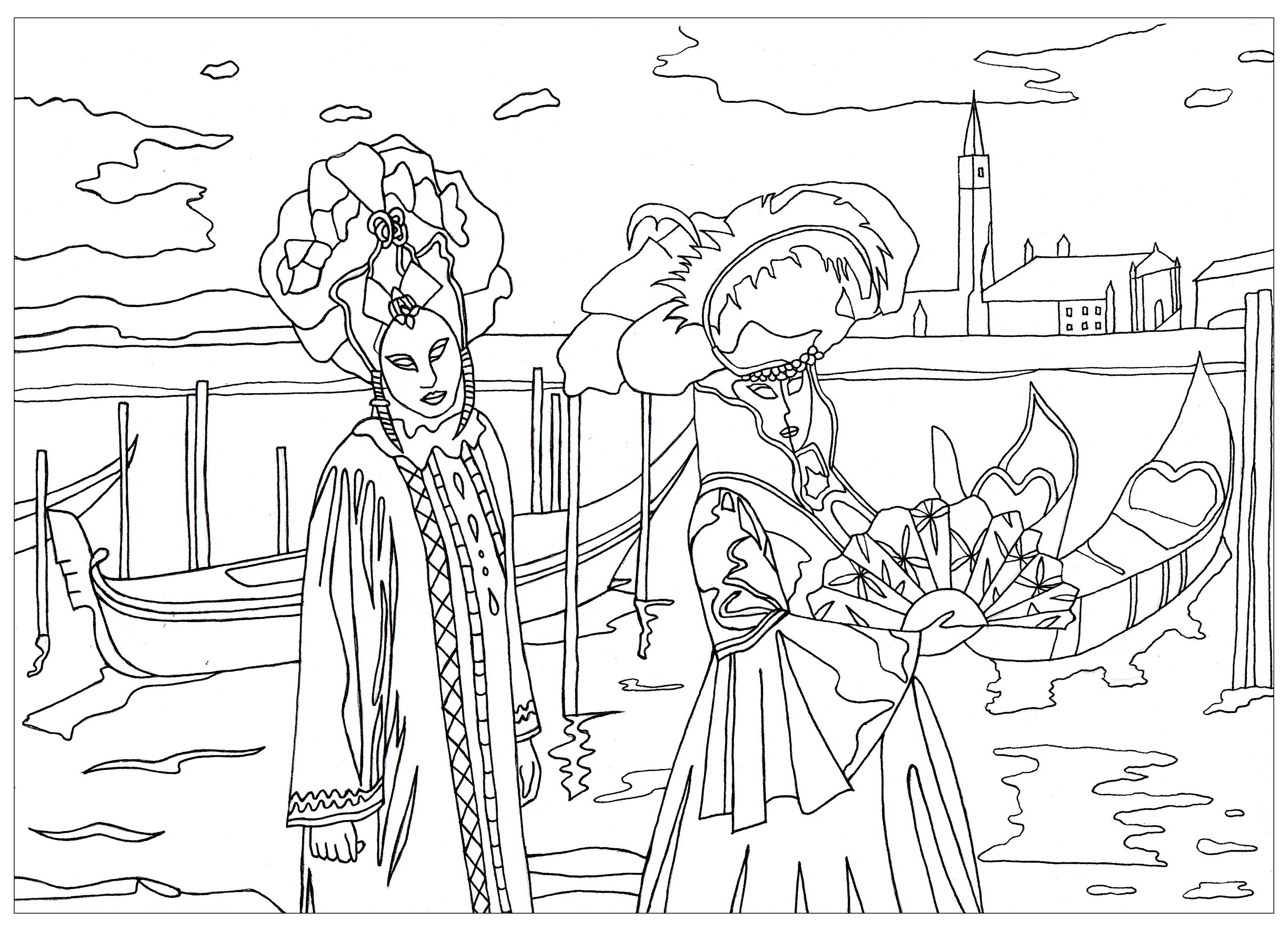 Le Carnaval de Venise coloriage exclusif