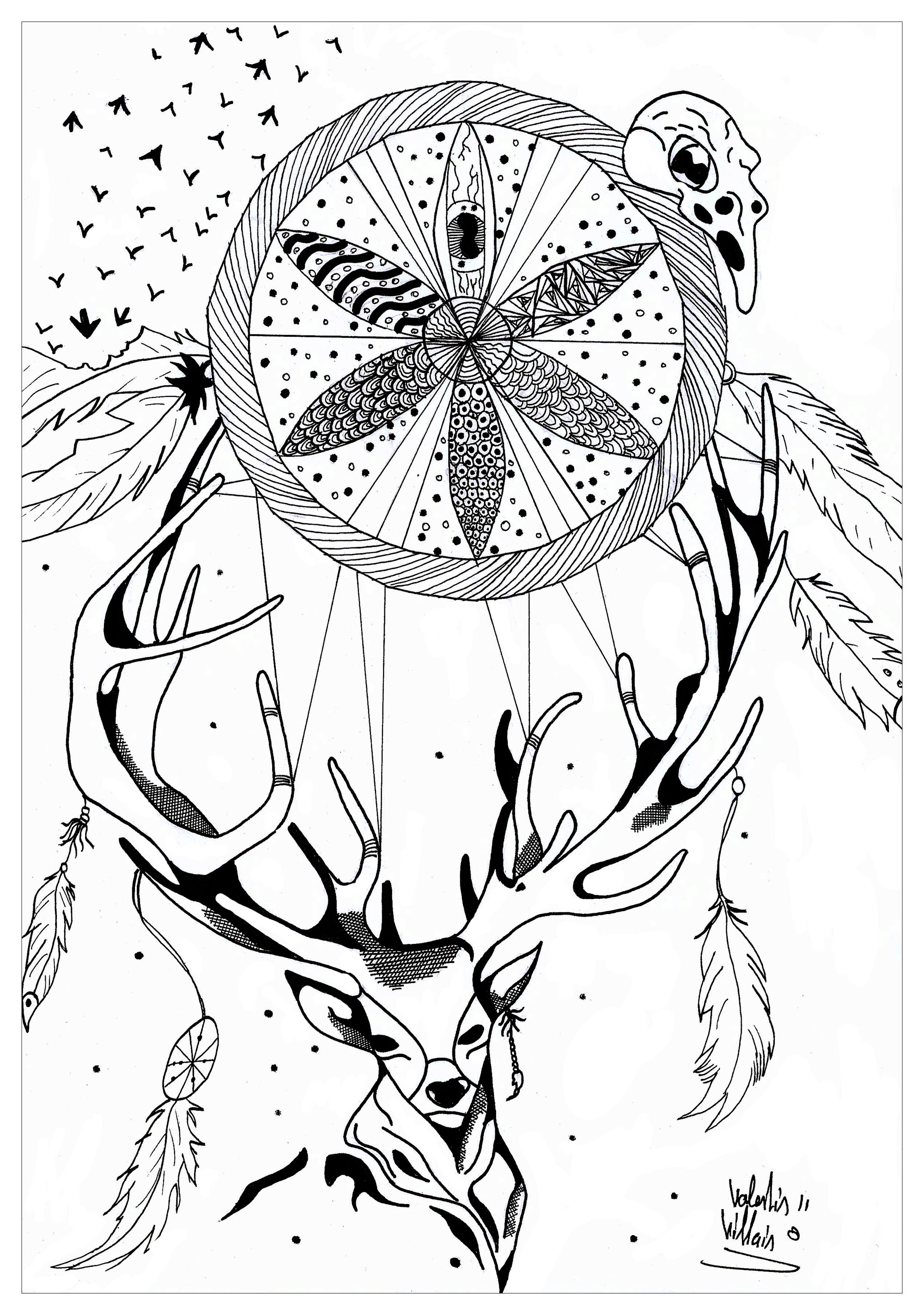 Cerf detante anti stress art th rapie coloriages - Coloriage anti stress pour adulte a imprimer ...