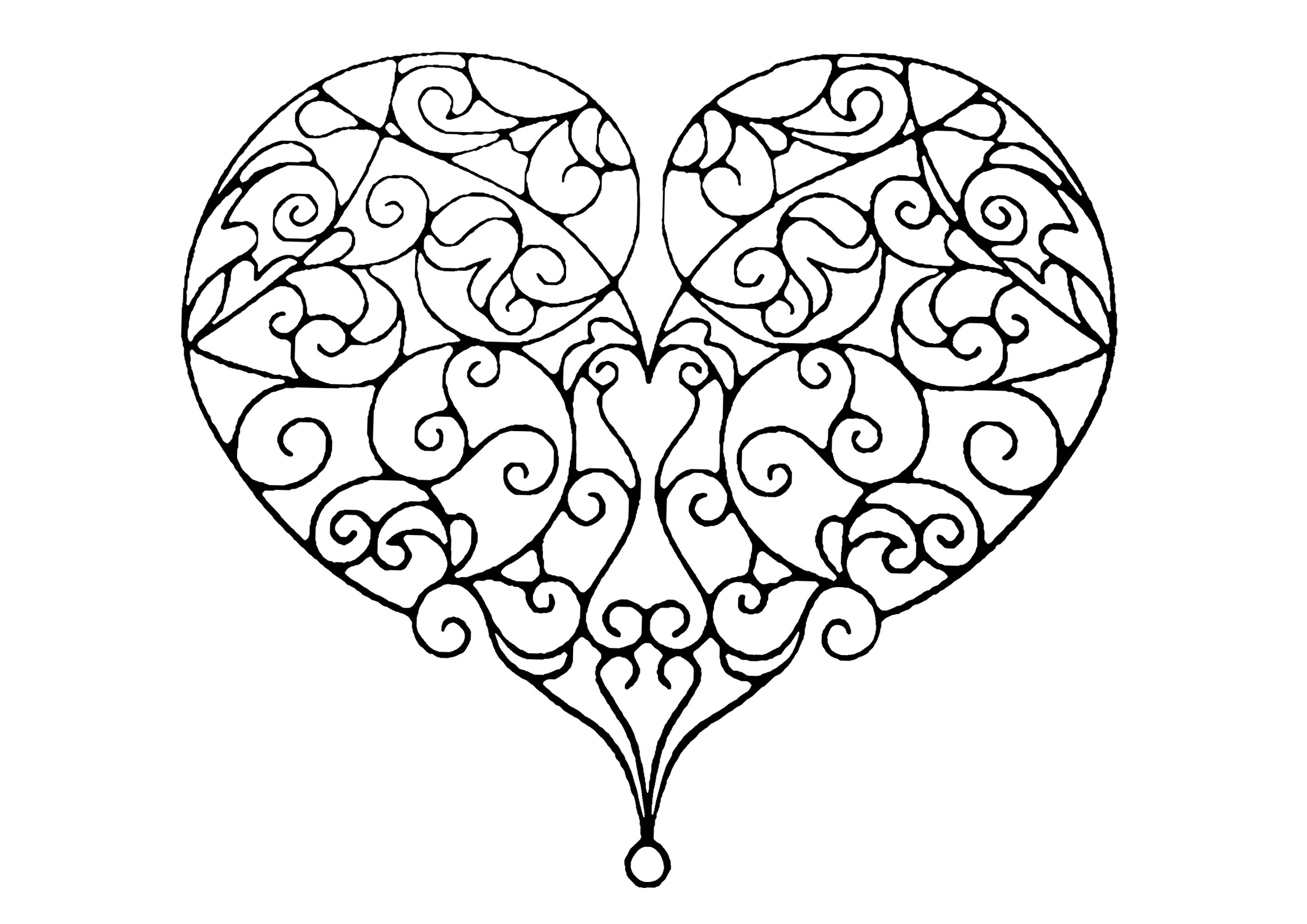 Coloriez ce joli coeur constitué de nombreuses lignes curves et élégantes