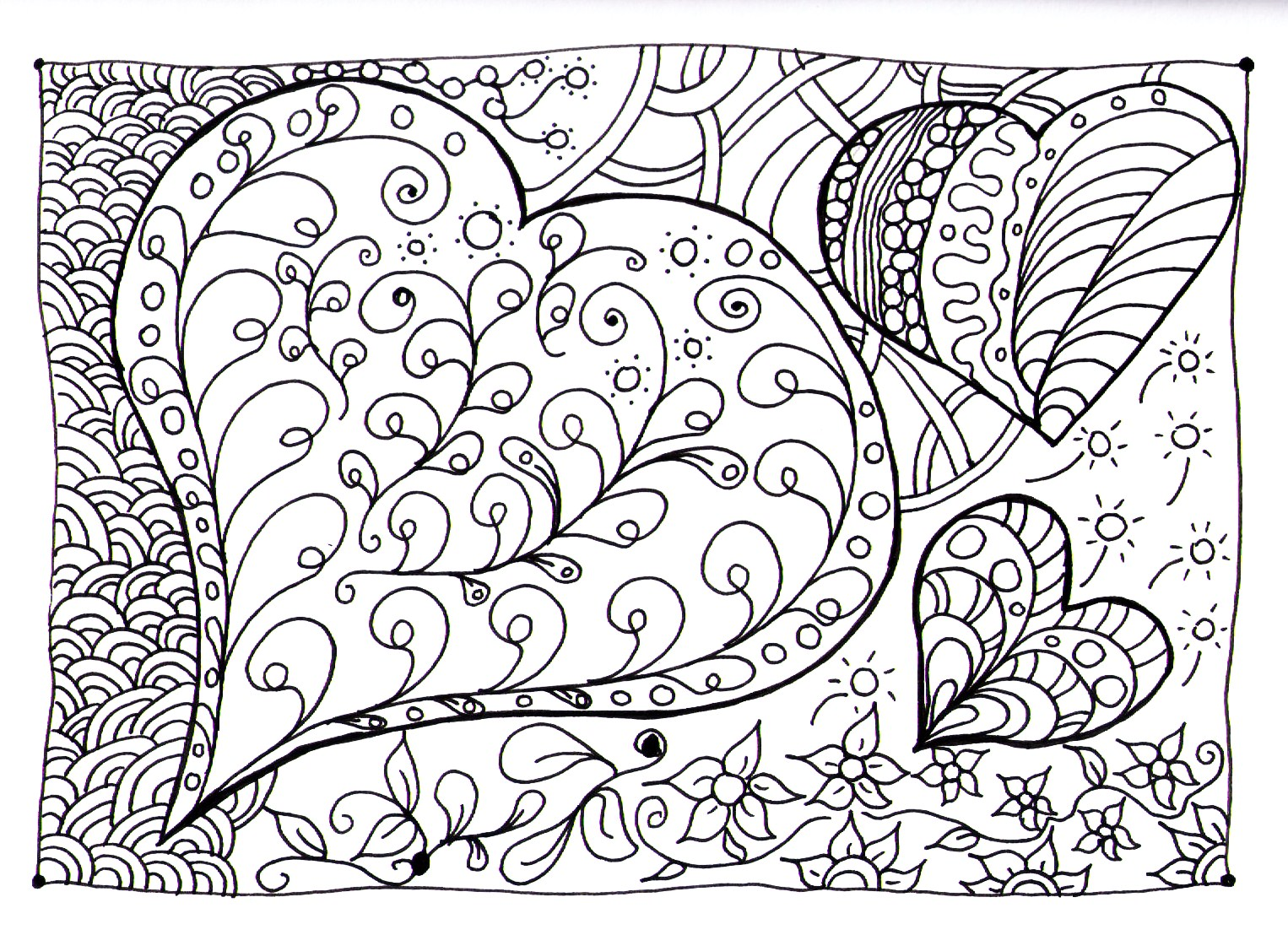 Coeur zen anti stress art th rapie coloriages - Coeur coloriage ...