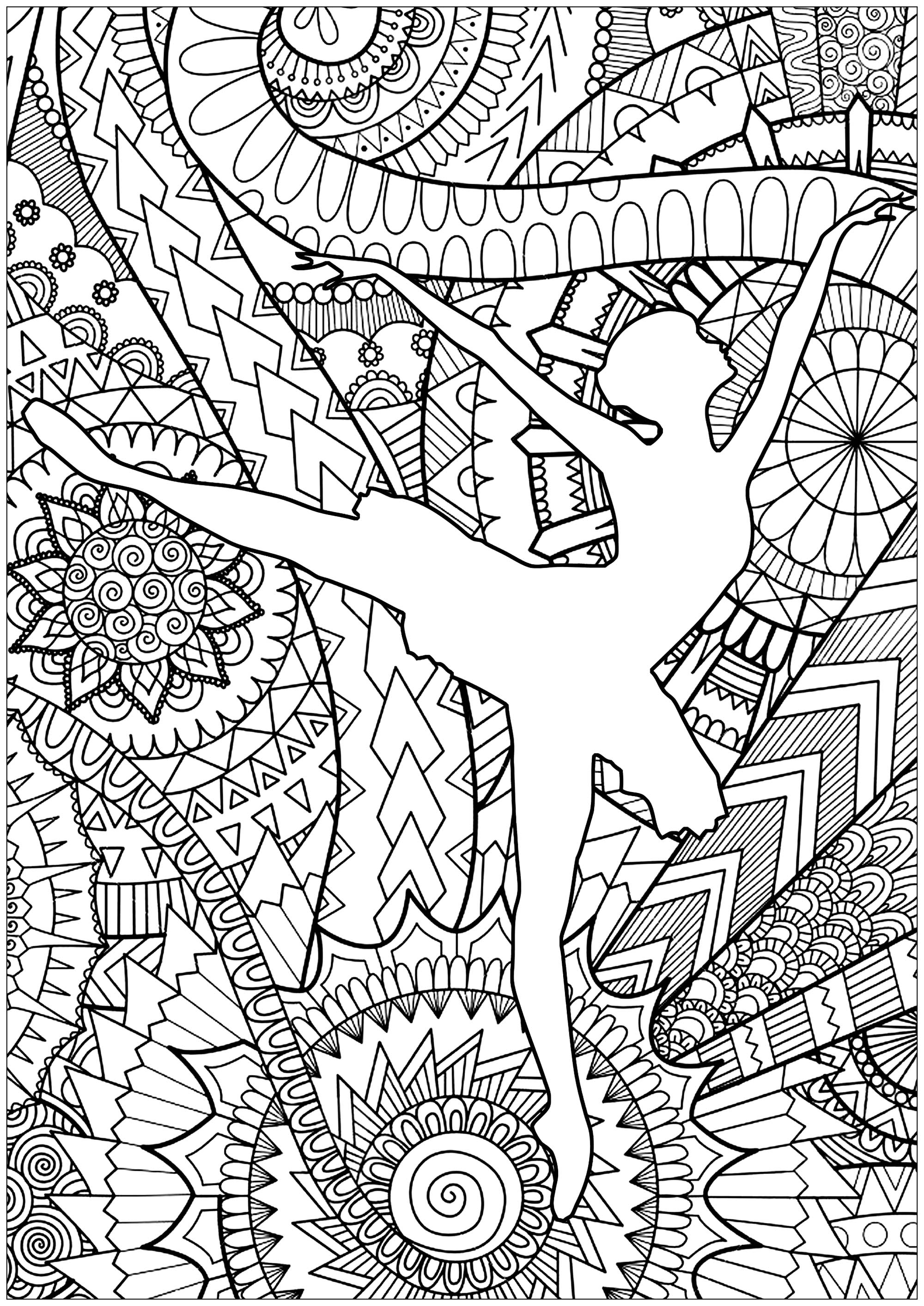 Coloriage Danse Adulte.Danseuse De Ballet Anti Stress Art Therapie Coloriages