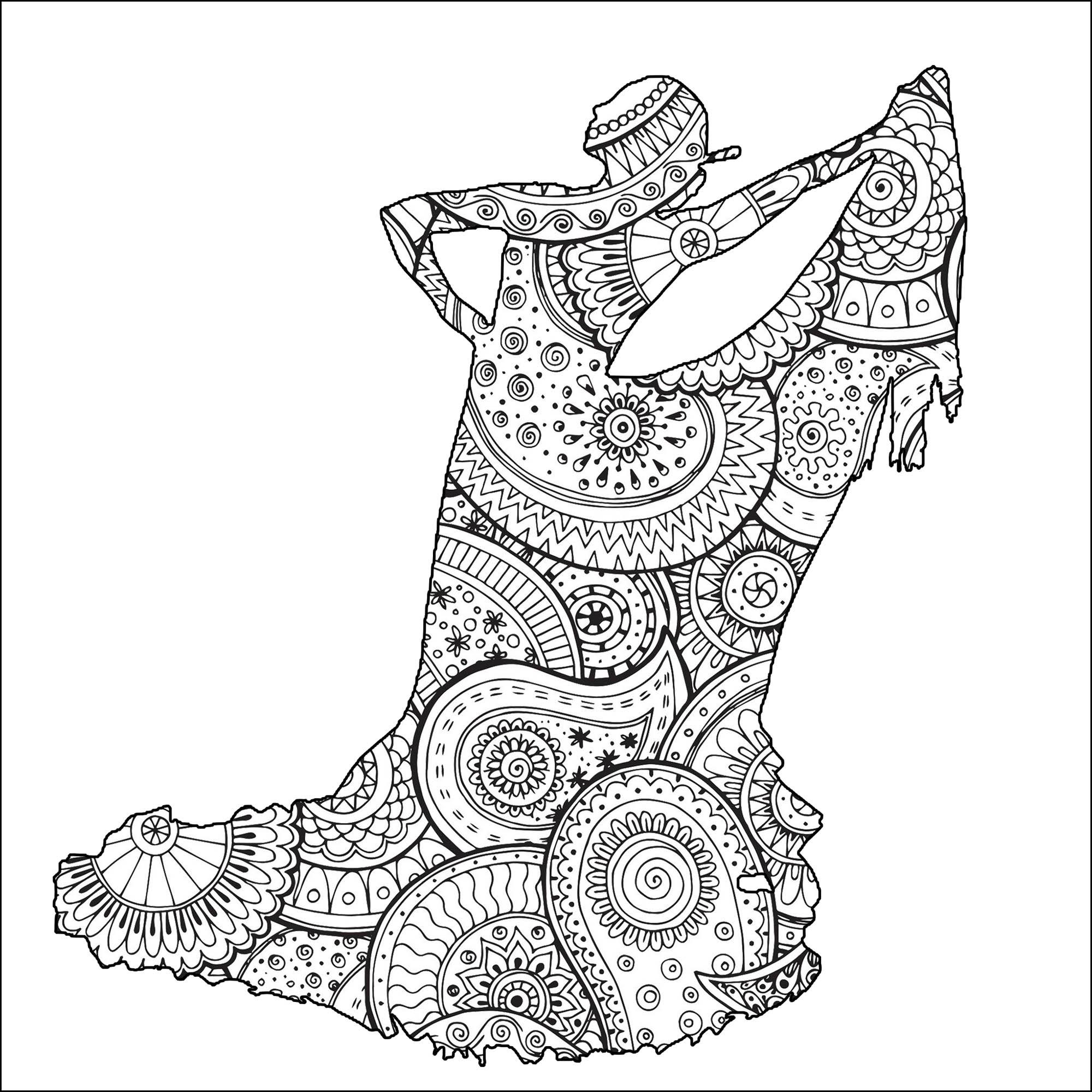 Magnifique Danseuse Flamenco avec motifs Zentangle et Paisley à colorier