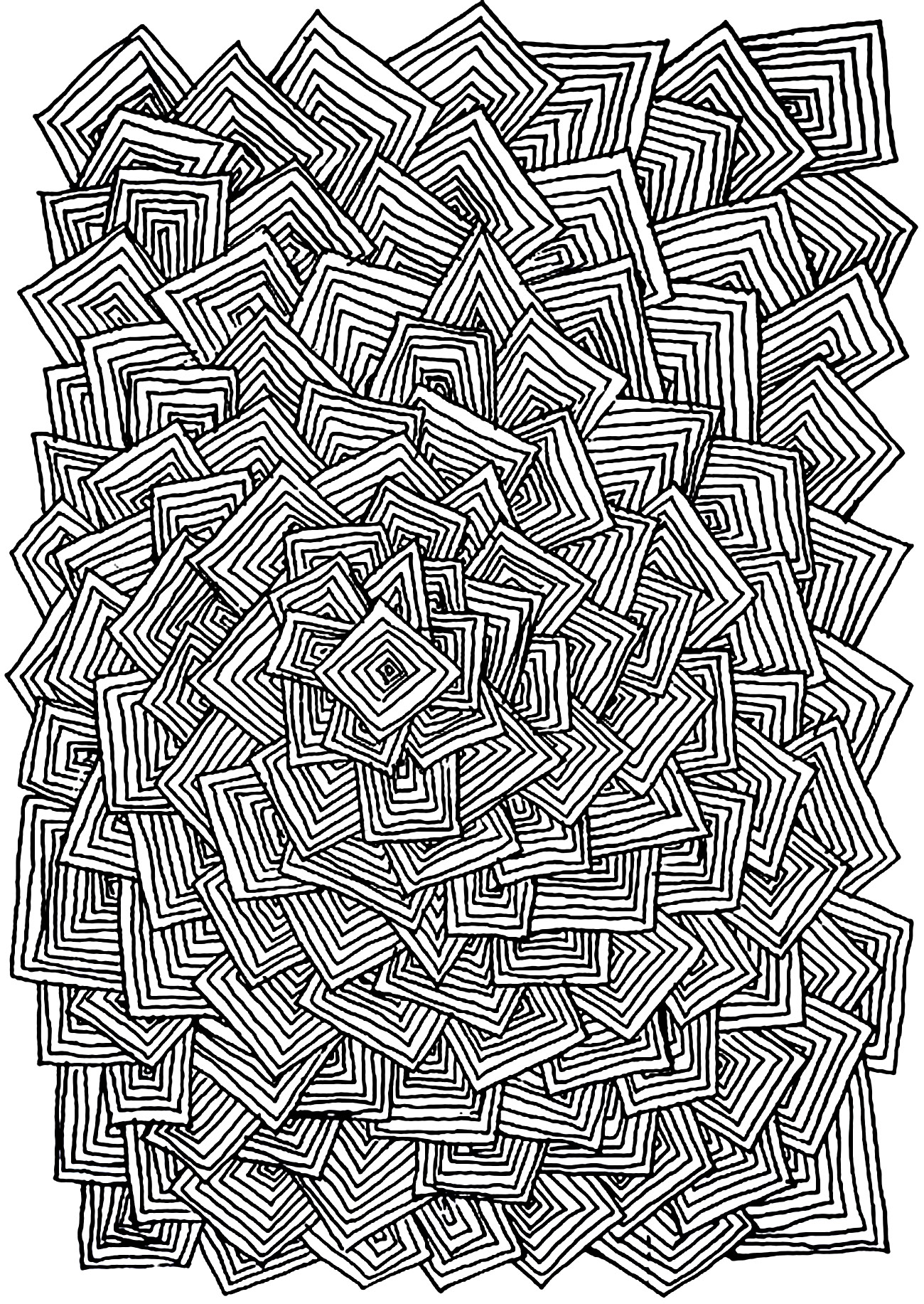 Coloriage Enchevetrement Carres on adult coloring pages for anxiety