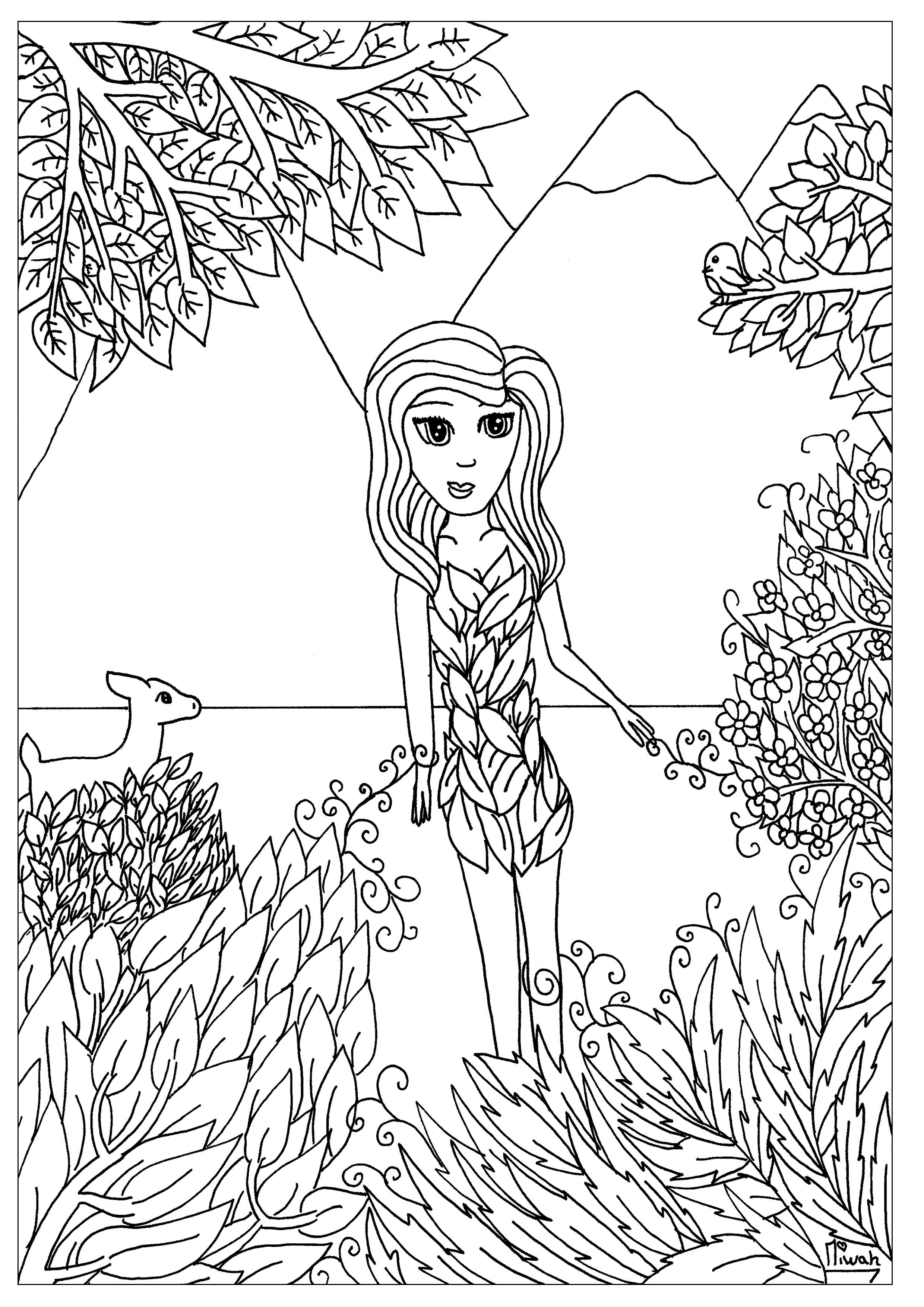 Femme fleur anti stress art th rapie coloriages - Coloriage art ...