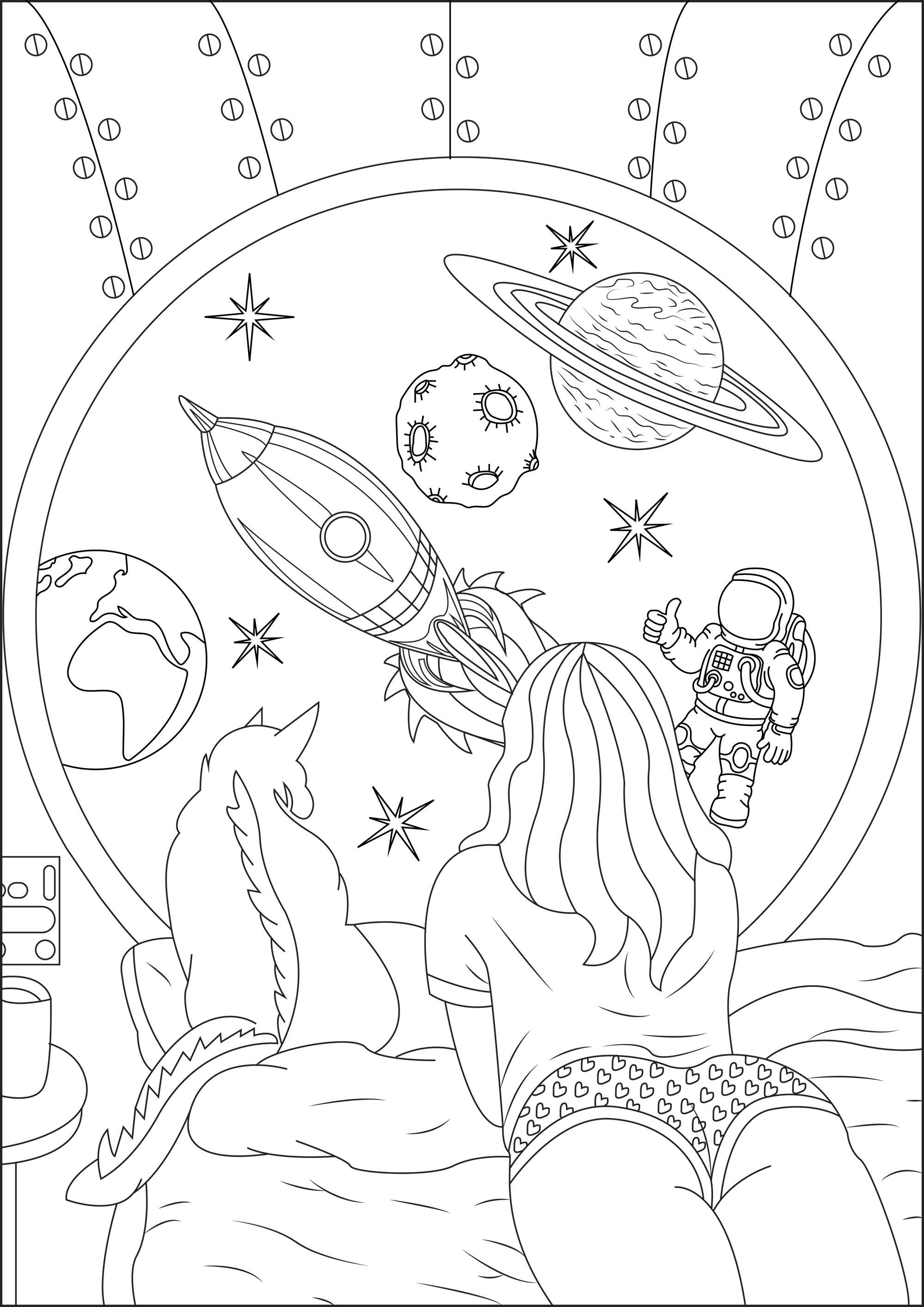 Fille rêvant d'un voyage dans l'espace avec son chat. Par le hublot de sa navette, elle voit : une fusée, la lune, la Terre, une astéroïde, Saturne, un Astrononaute, ainsi que de jolies étoiles brillantes