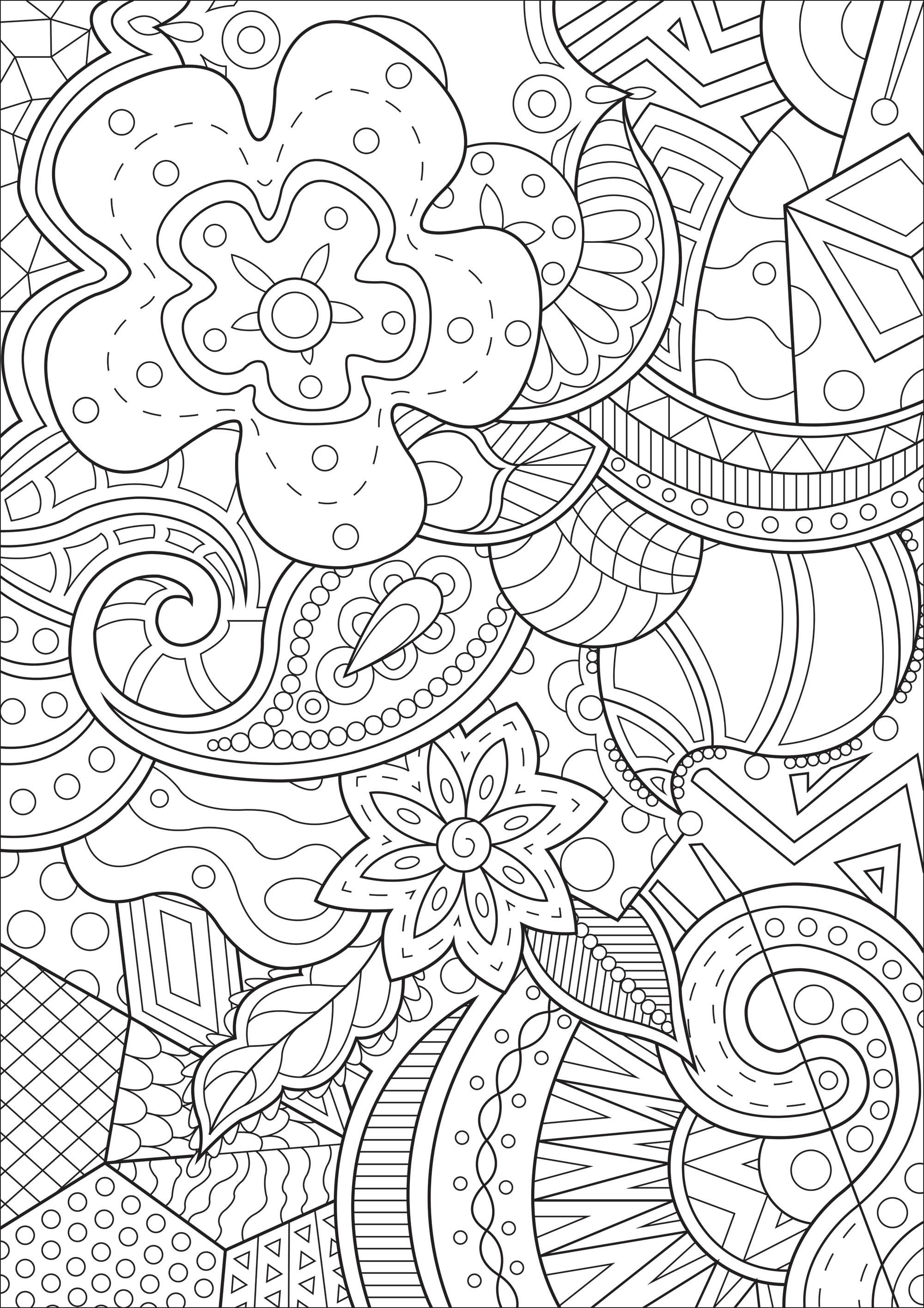 Magnifique dessin à colorier composé de fleurs et de formes abstraites entremêlées
