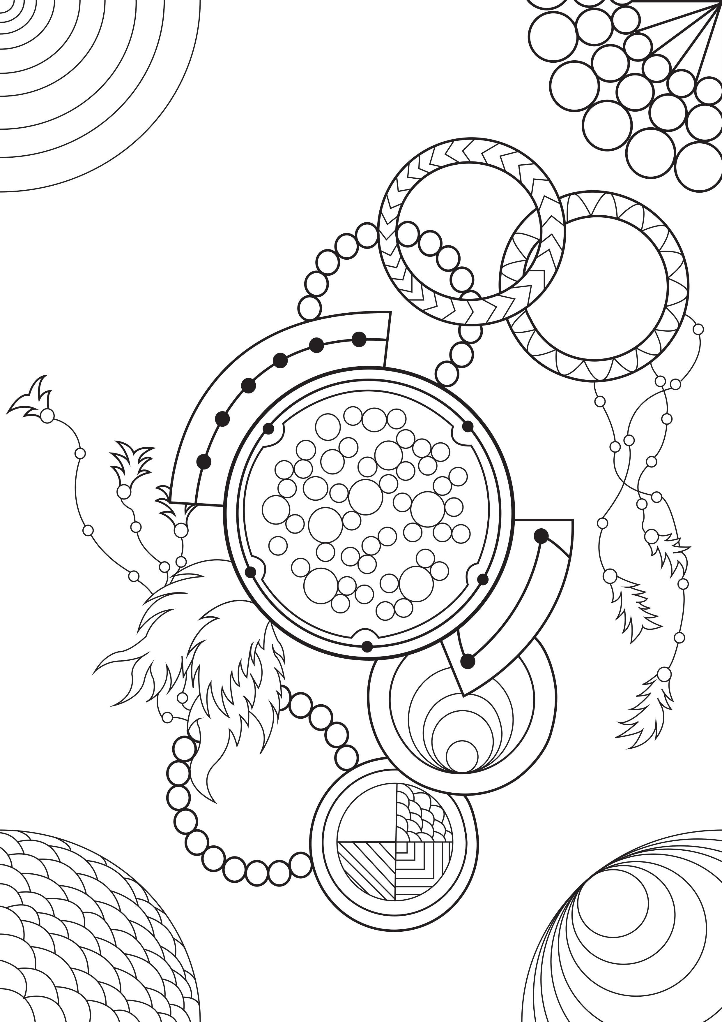 Voici un coloriage très relaxant, mixant Mandalas, Dreamcatchers et motifs abstraits.