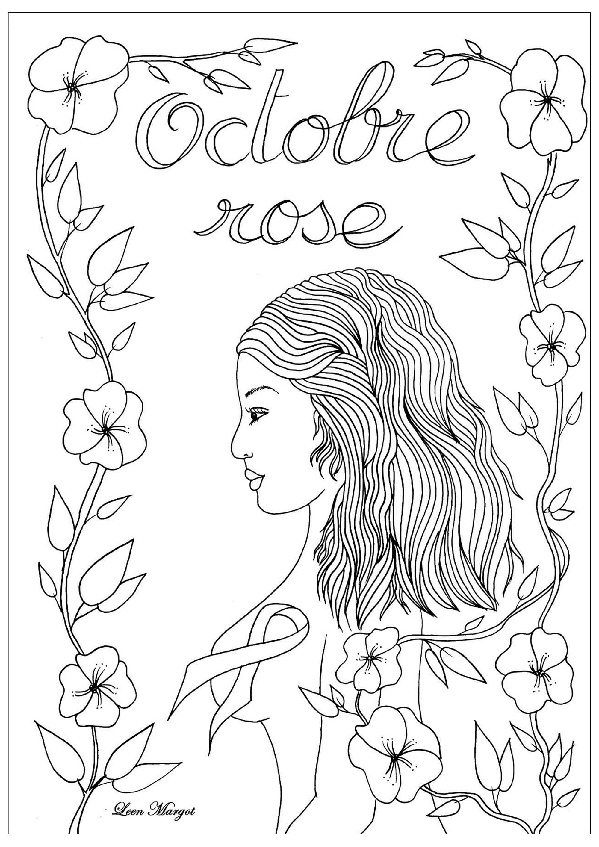 Coloriage exclusif créé pour Octobre rose : Mois de sensibilisation au dépistage du cancer du sein (Version 1)