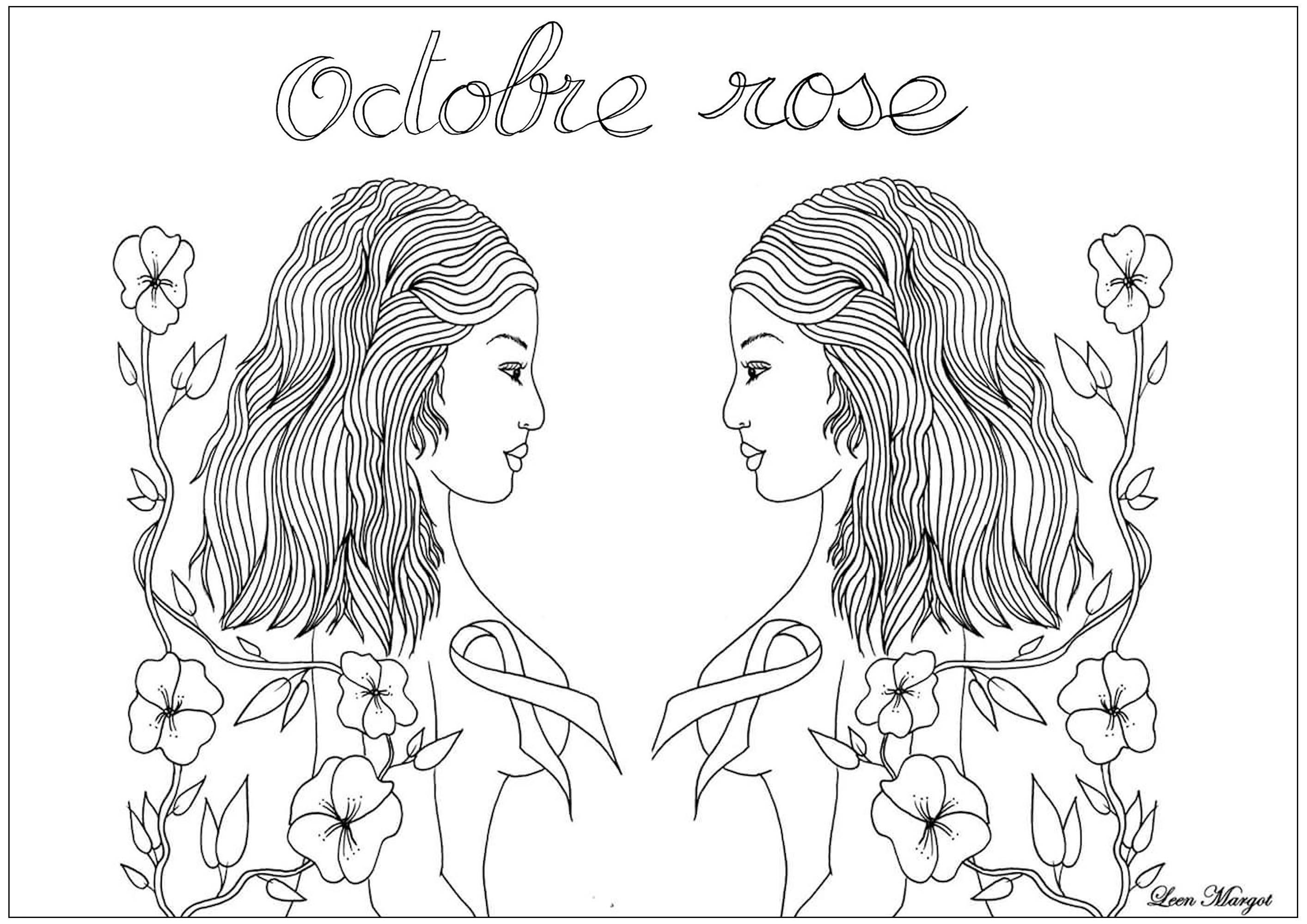Coloriage exclusif créé pour Octobre rose : Mois de sensibilisation au dépistage du cancer du sein (Version 2)
