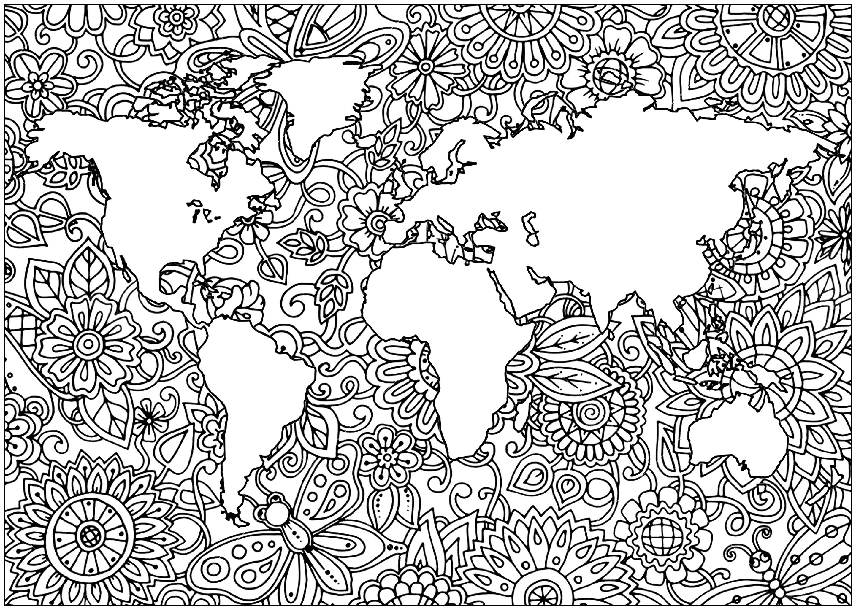 Planisphère avec motifs fleuris dans les mers