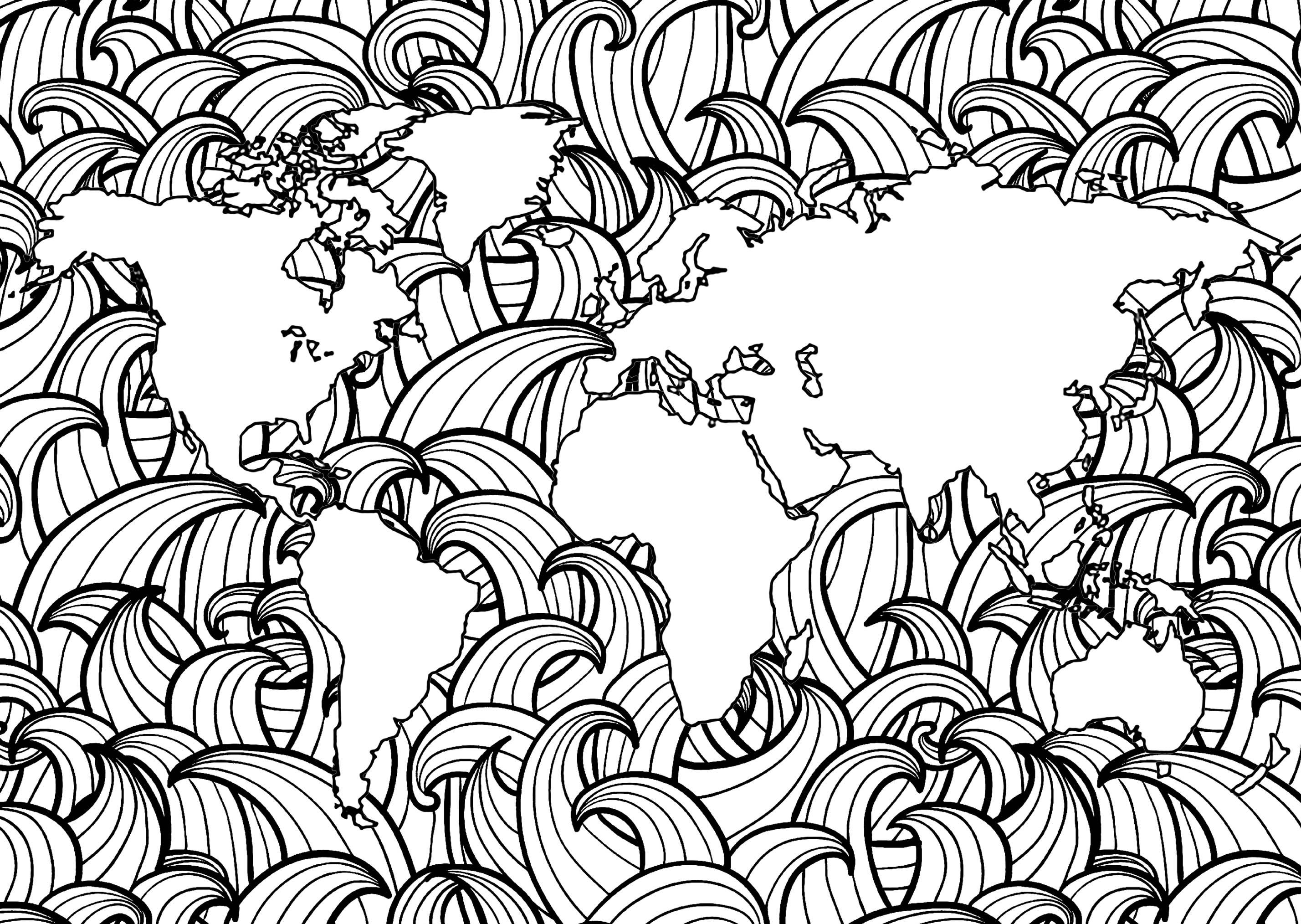 Planisphère avec motifs de vagues simples dans les mers