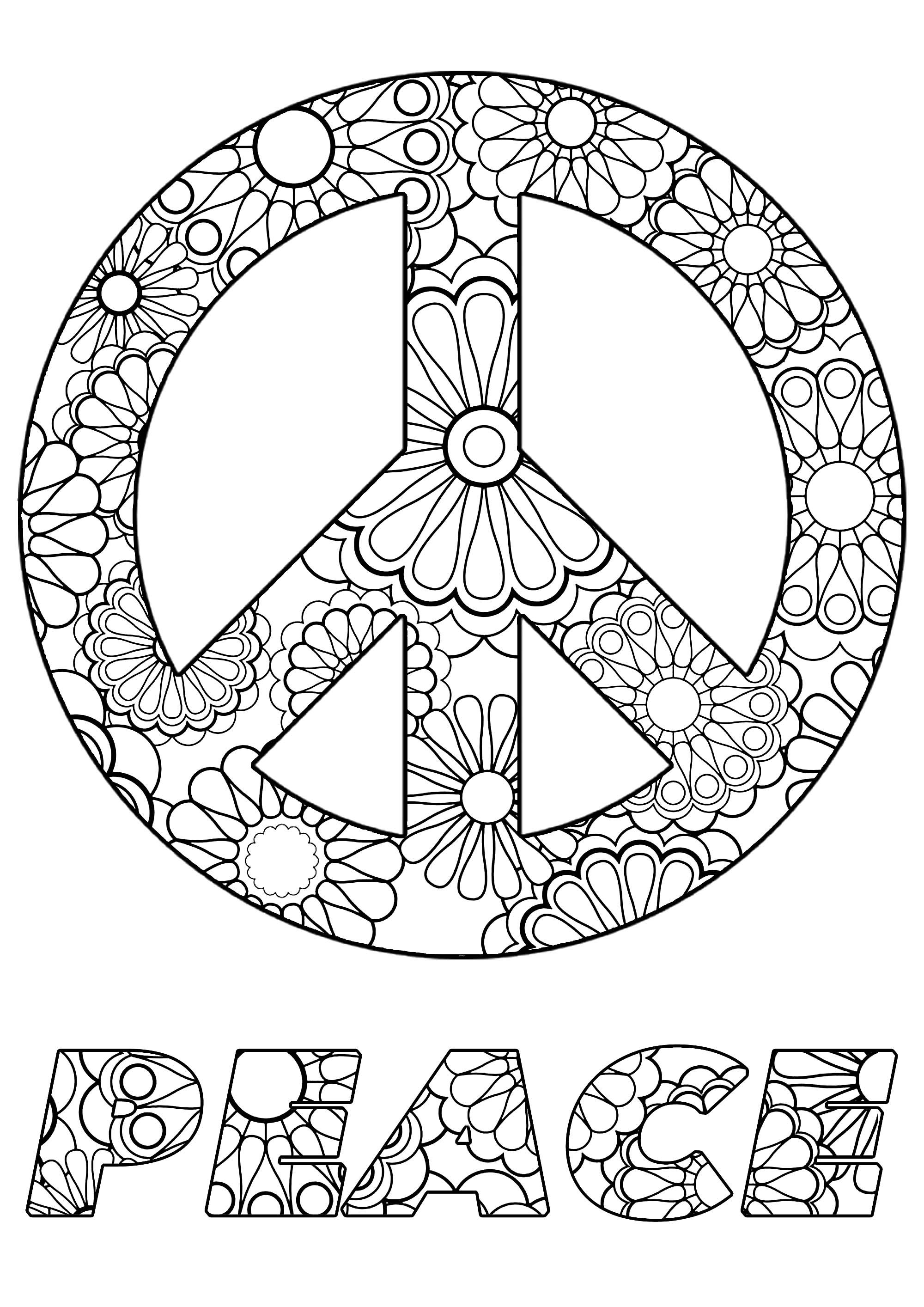 Coloriez ce symbole de la paix et le mot 'Peace', avec de jolies fleurs à l'intérieur