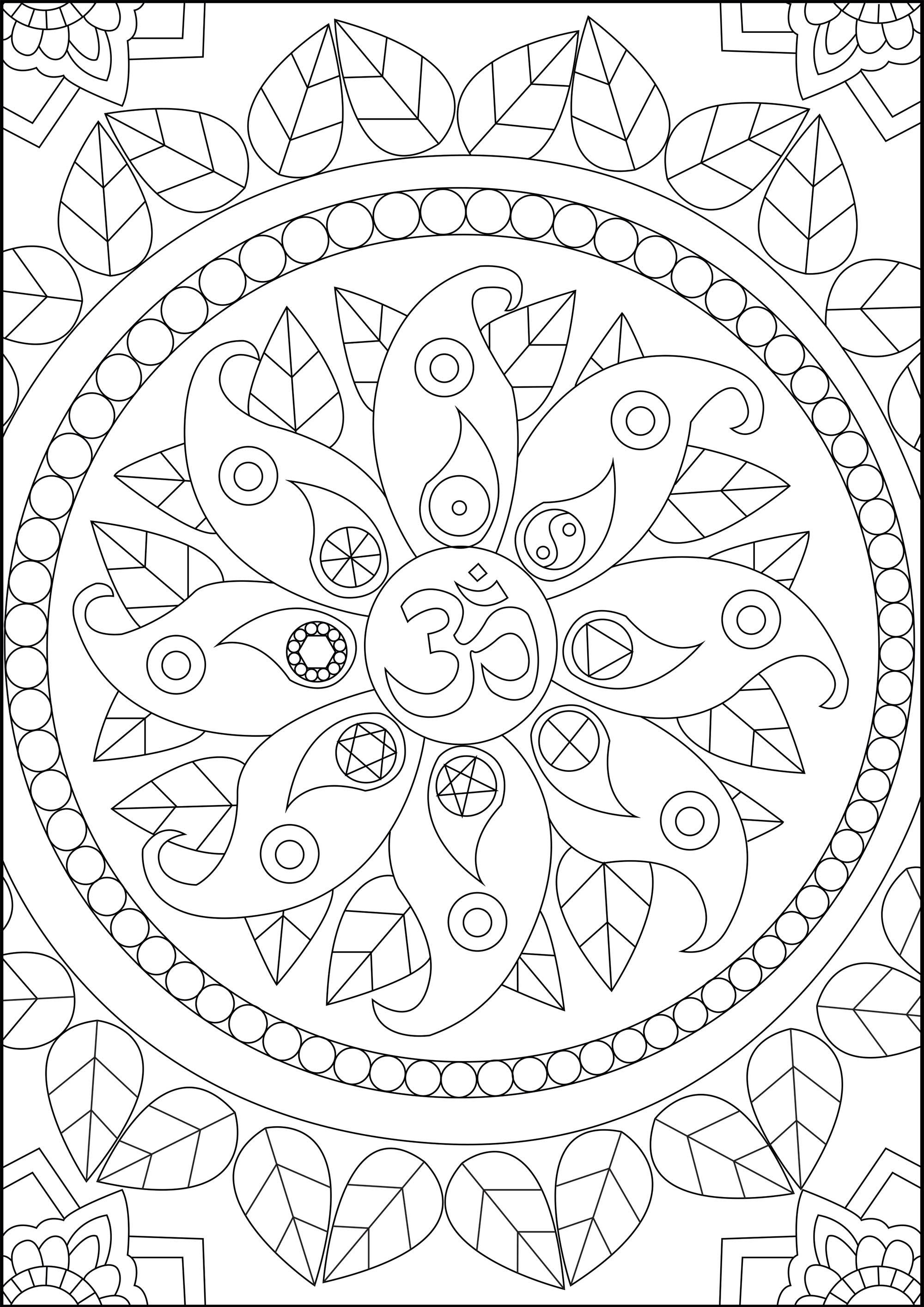 Trouvez la Paix intérieure avec ce coloriage comportant divers symboles Zen, dont 'Om'. Om (ou Aum ॐ) est un des symboles les plus sacrés de l'hindouisme : il est utilisé comme préfixe et parfois suffixe aux mantras hindous. Il est considéré comme la vibration primitive divine de l'Univers qui représente toute existence.