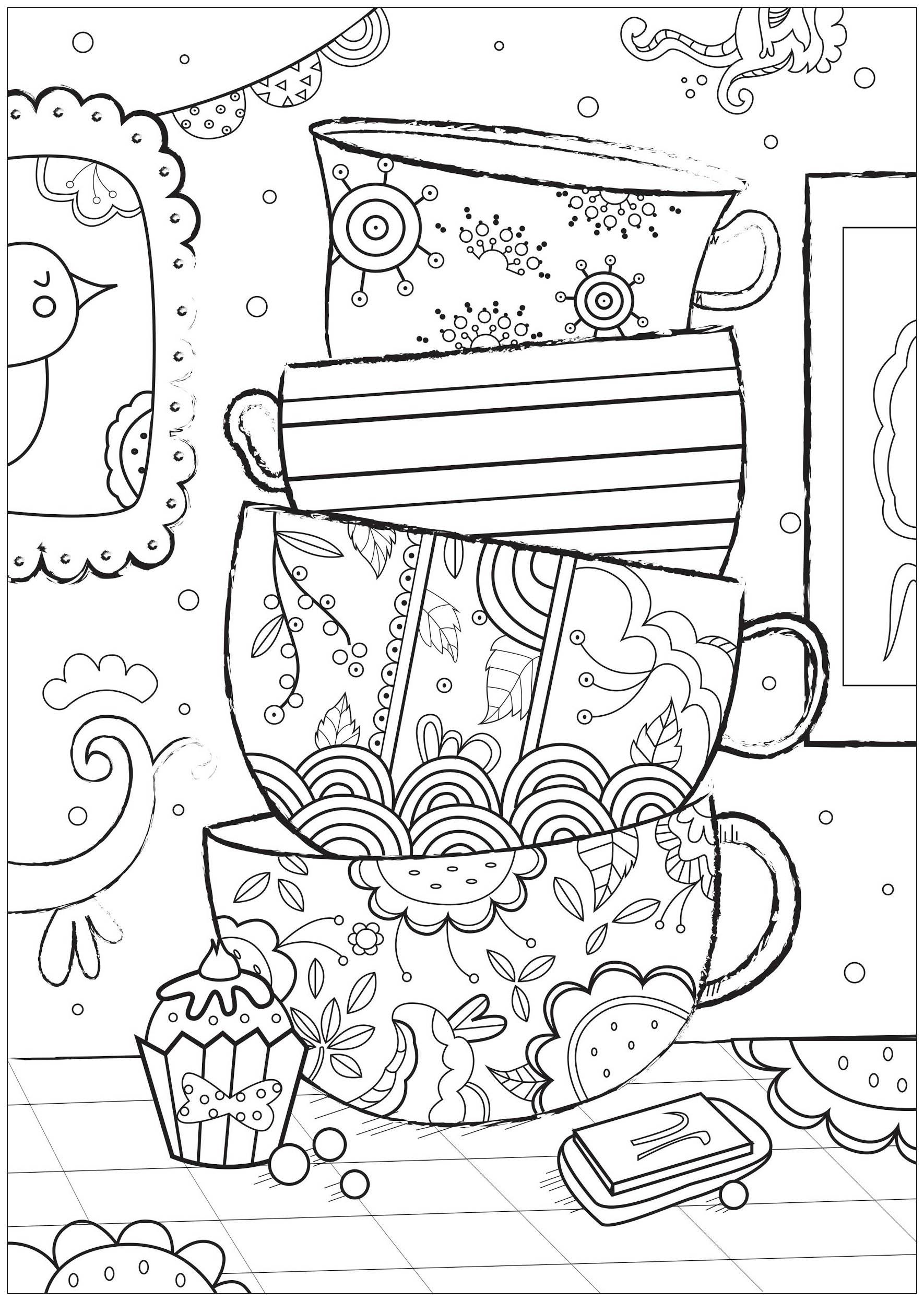 Jolies tasses à colorier