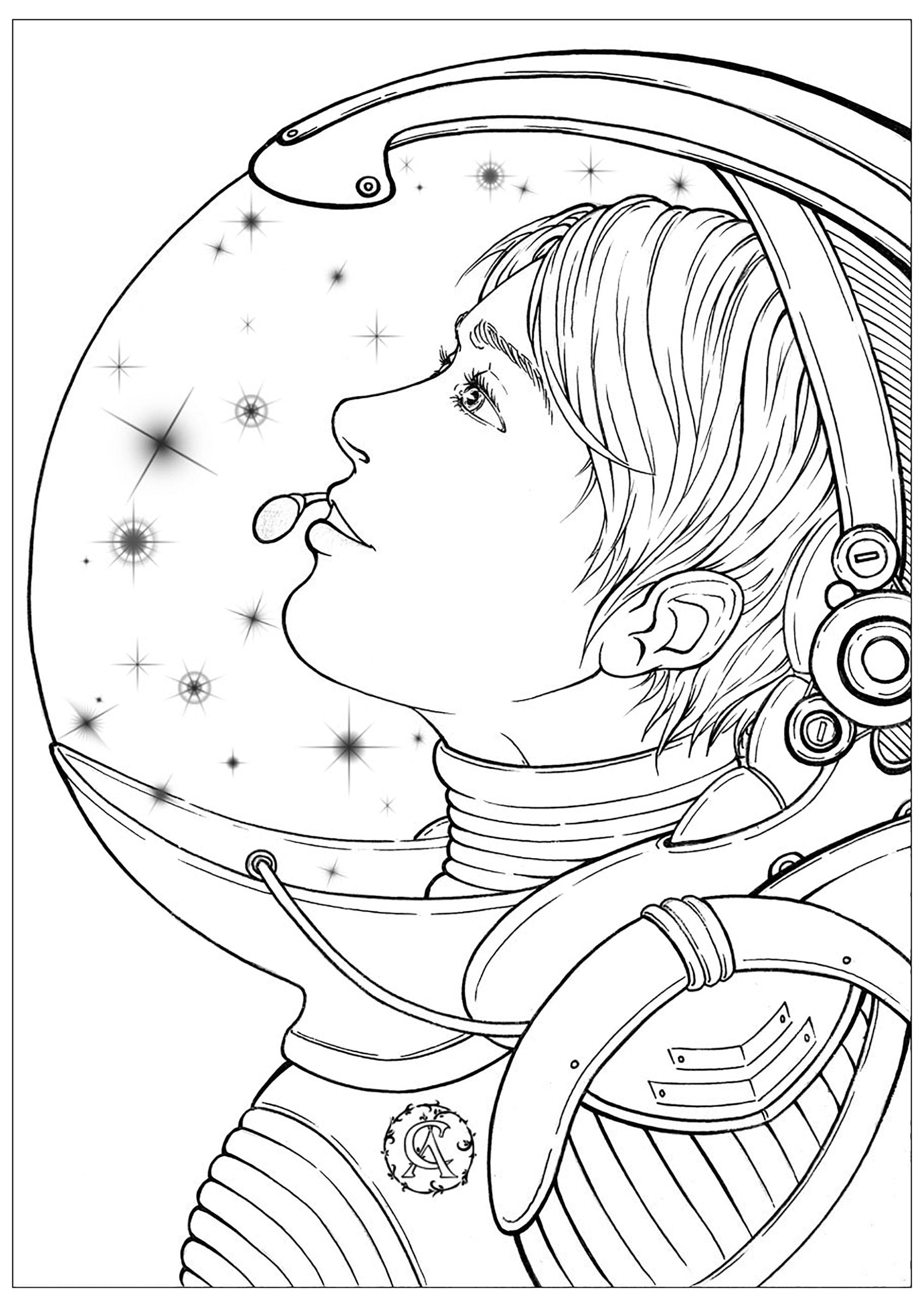 Cette astronaute en combinaison rêve des étoiles qu'elle ira explorer