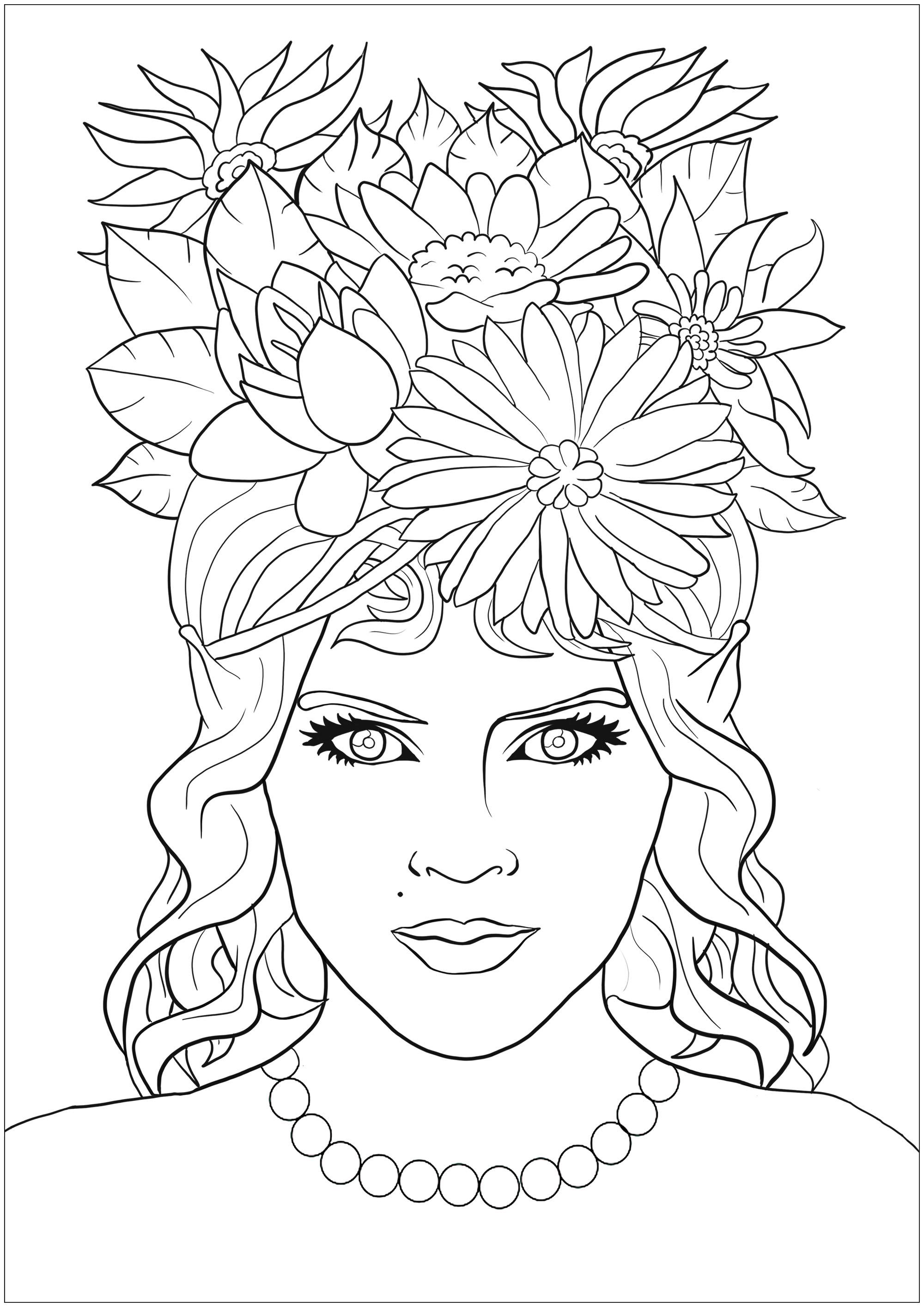 Jolie femme elf au regard hypnotique, avec chevelure pleine de fleurs