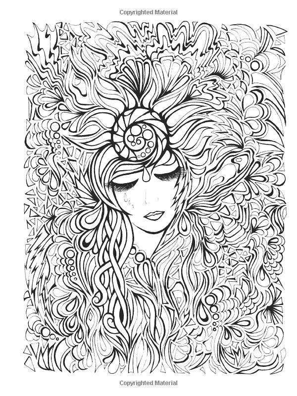 Visage et fleurs anti stress art th rapie coloriages difficiles pour adultes - Coloriage therapie ...