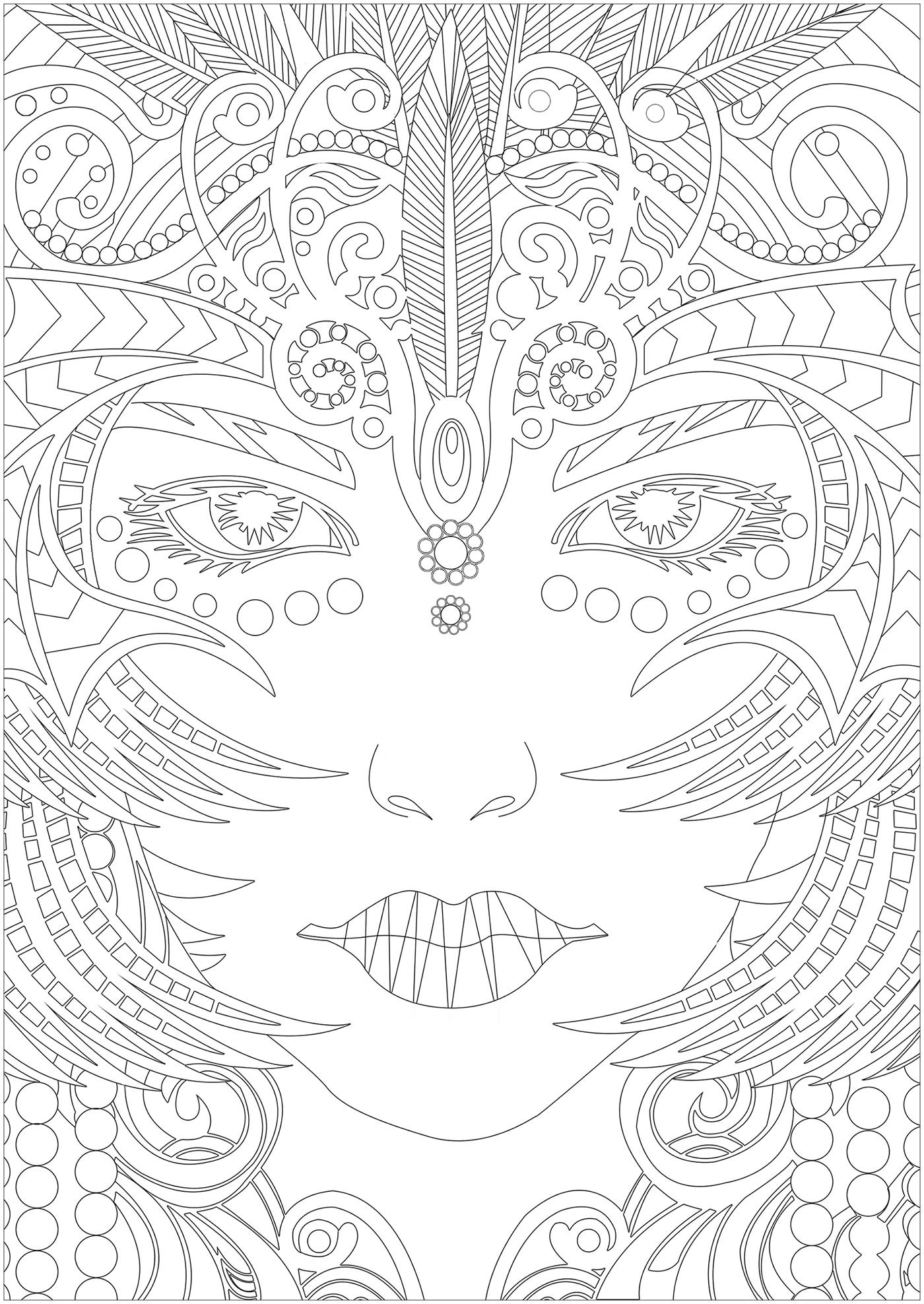 Coloriez ce joli visage de femme plein de petits détails