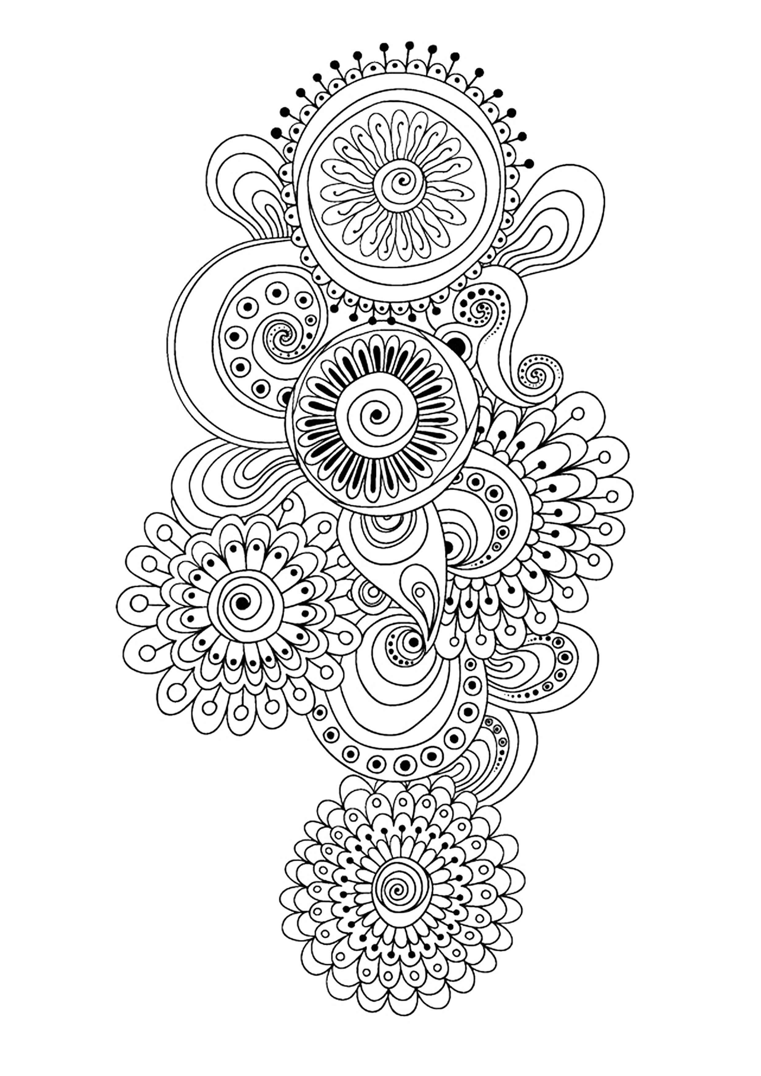Zen antistress motif abstrait inspiration florale 10 anti stress art th rapie coloriages - Coloriage art therapie ...