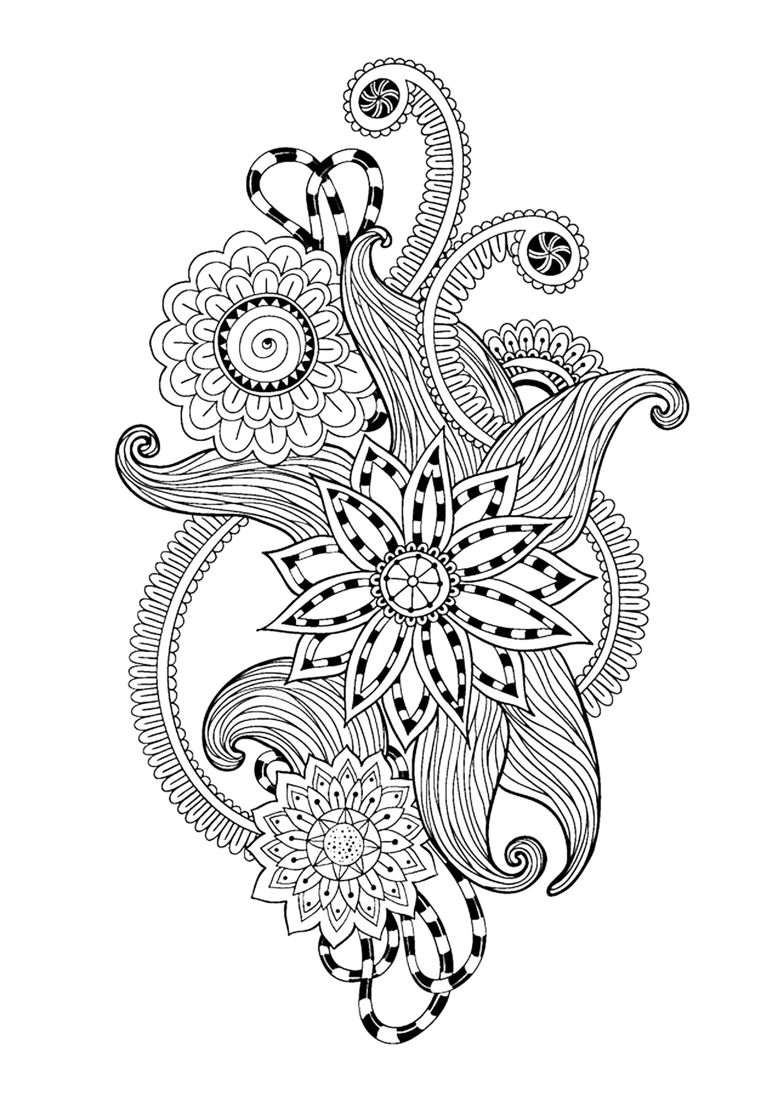 Zen antistress motif abstrait inspiration florale 12 - Zen coloriage ...