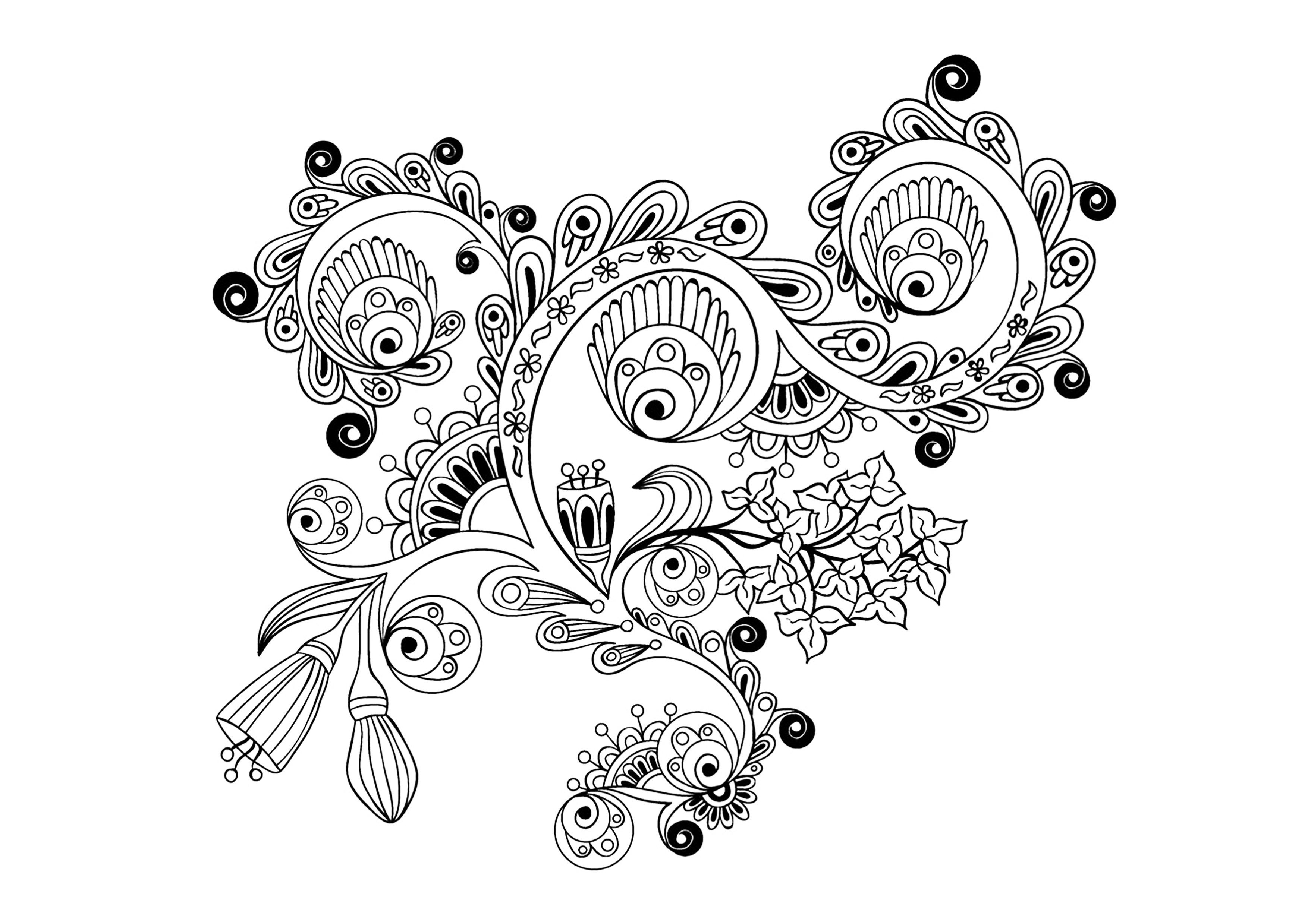 Zen Antistress Motif Abstrait Inspiration Florale 14