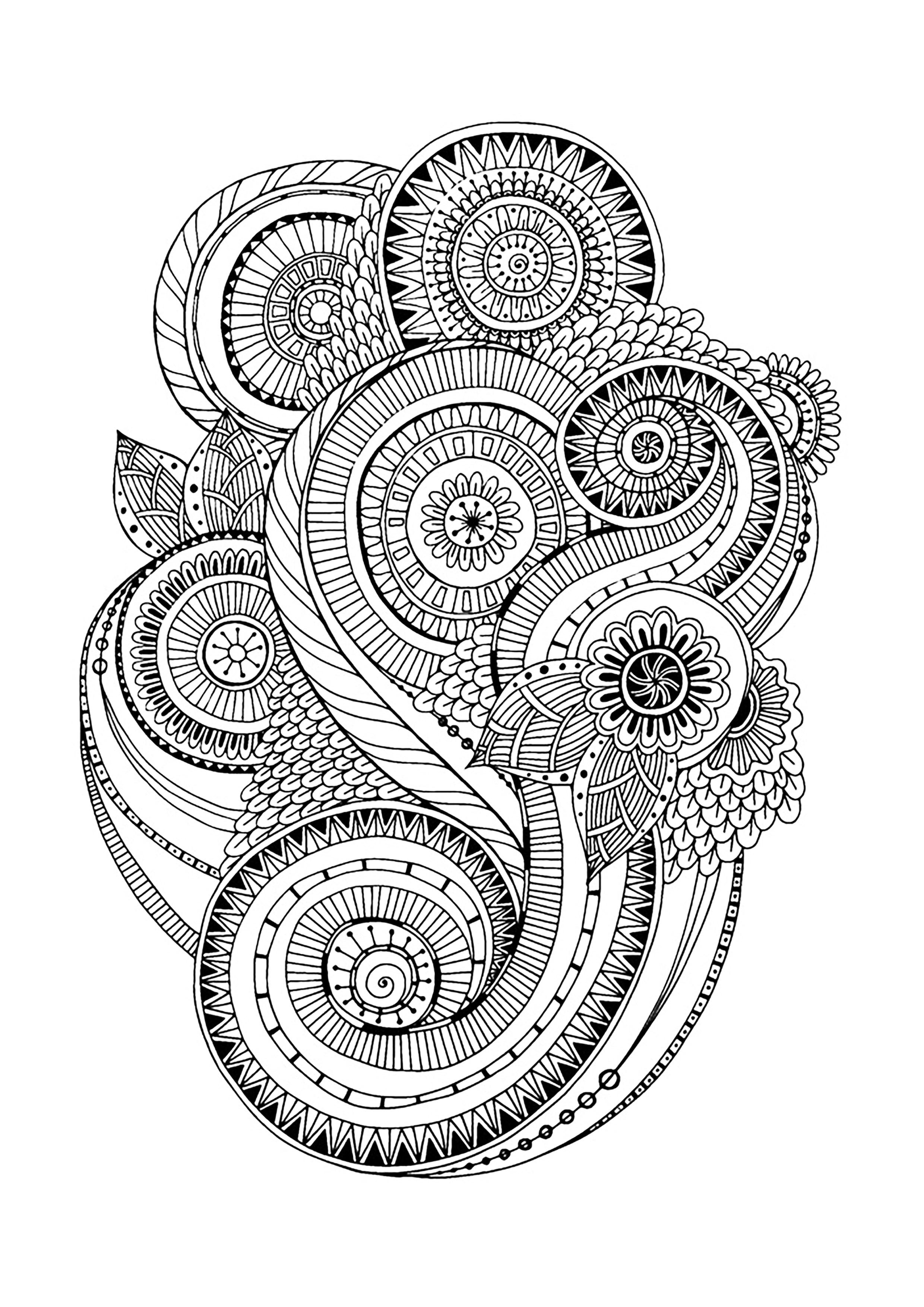 Zen antistress motif abstrait inspiration florale 2 anti stress art th rapie coloriages - Dessin anti stresse ...
