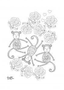 Coloriage adulte annee du singe 2