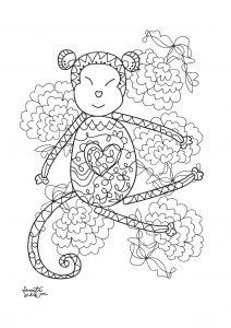 Coloriage adulte annee du singe 3