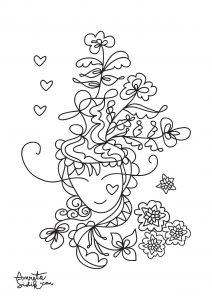 Coloriage adulte fille aux fleurs 1
