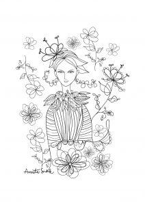 Coloriage adulte fille aux fleurs 2