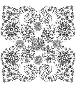 Coloriage anti stress fleurs