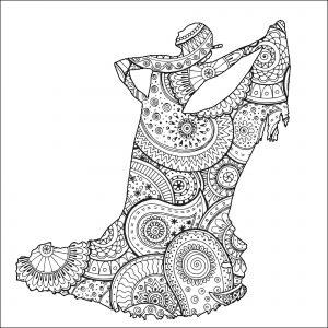 Danseuse Flamenco avec motifs Zentangle et Paisley