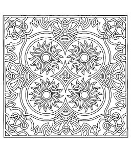 Coloriage difficile symetrie tournesols